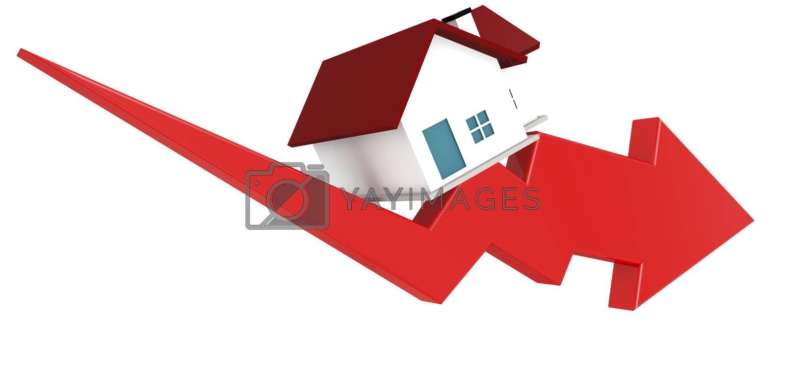 Falling of real estate market, 3D rendering