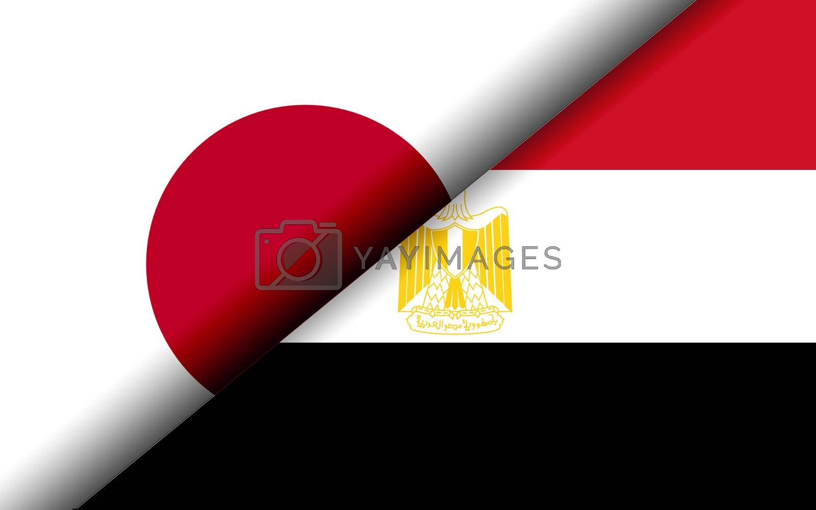 Flags of the Japan and Egypt divided diagonally. 3D rendering