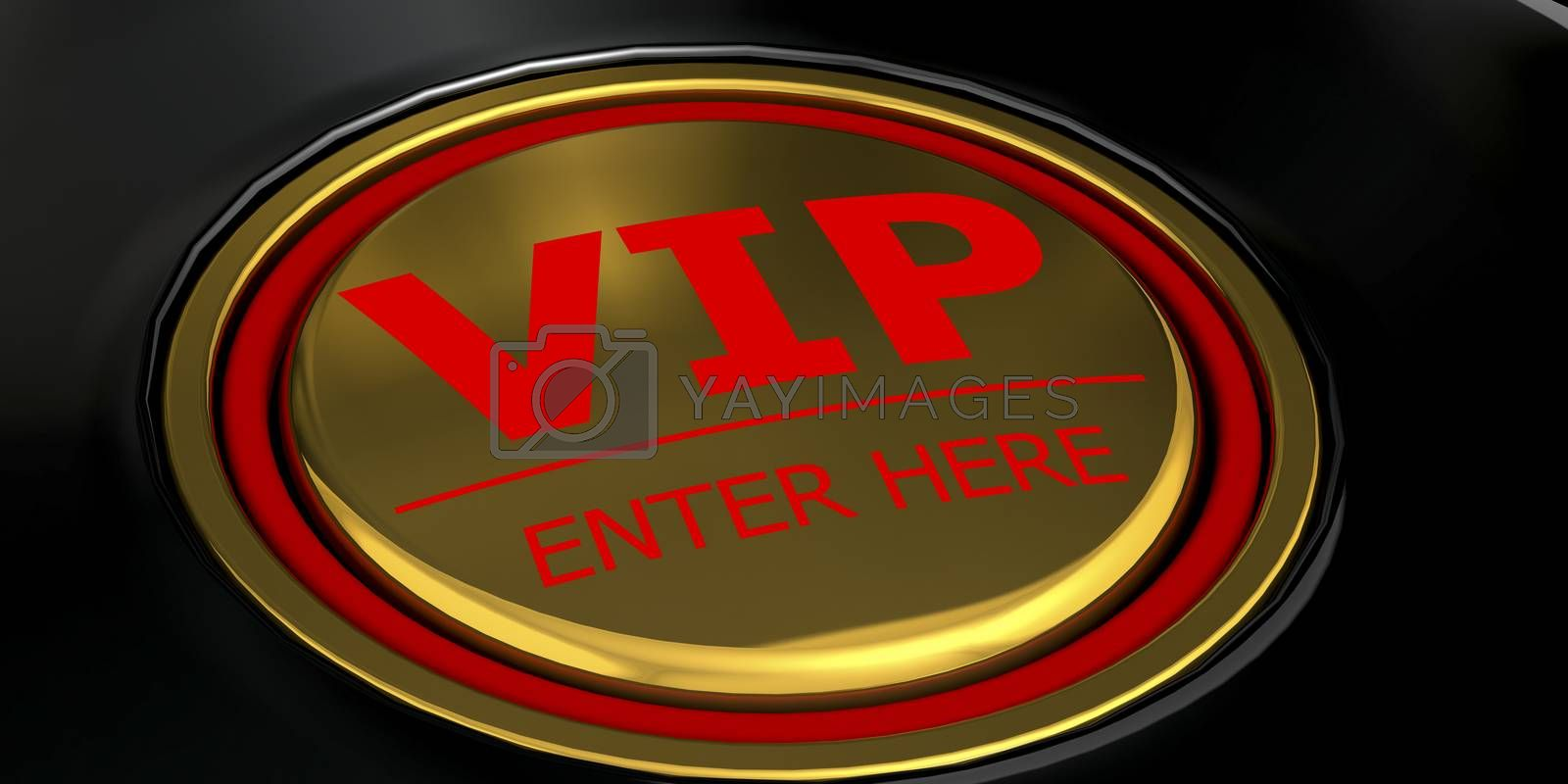 VIP enter here golden button, 3d rendering