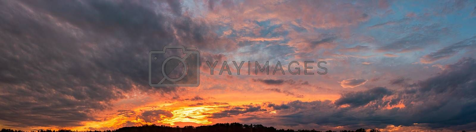 Natural background of the colorful sky, During the time sunrise and sunset. Panorama shoot.