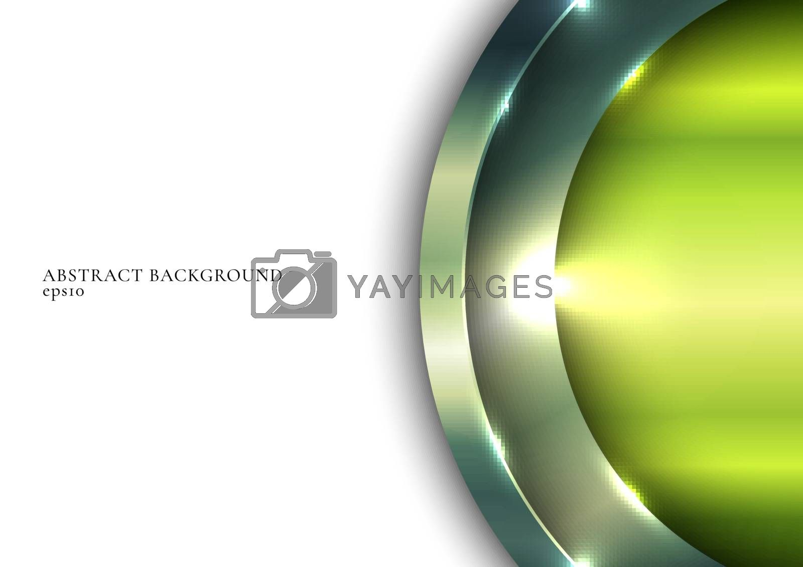 3D green metallic shiny circle overlapping with lighting on white space background. Vector illustration