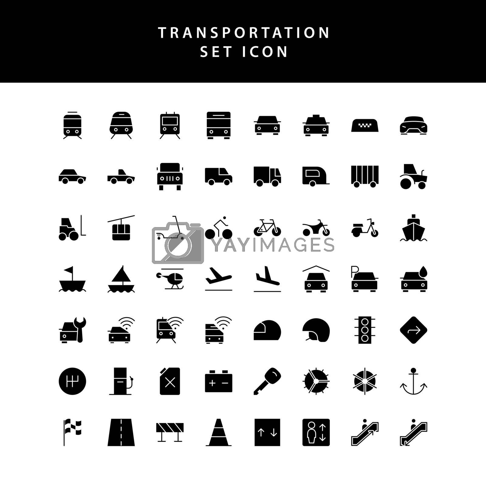 transportation glyph style  icon set