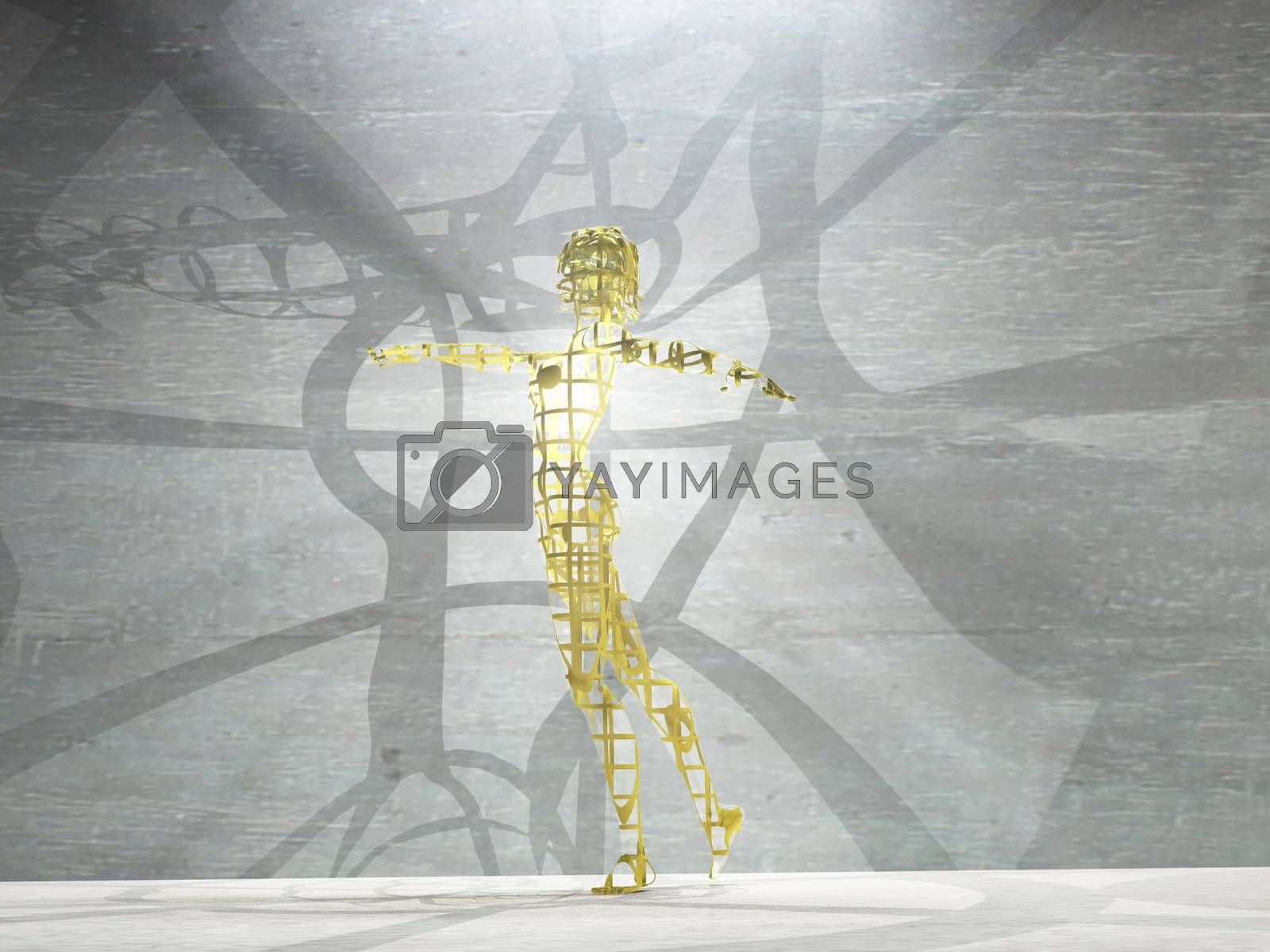 Woman figure made of gold emits light rays. 3D rendering