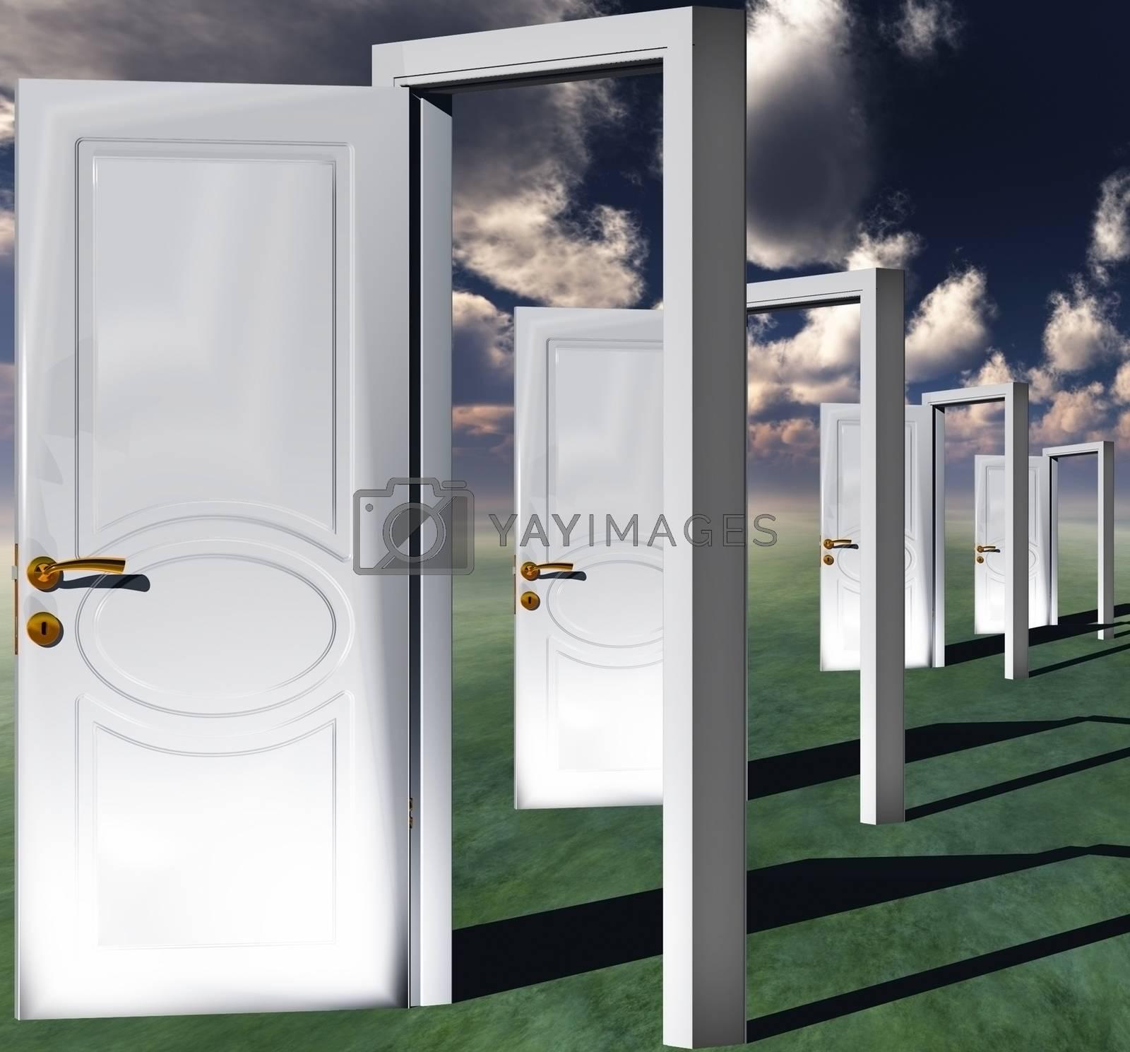 Open white doors. 3D rendering