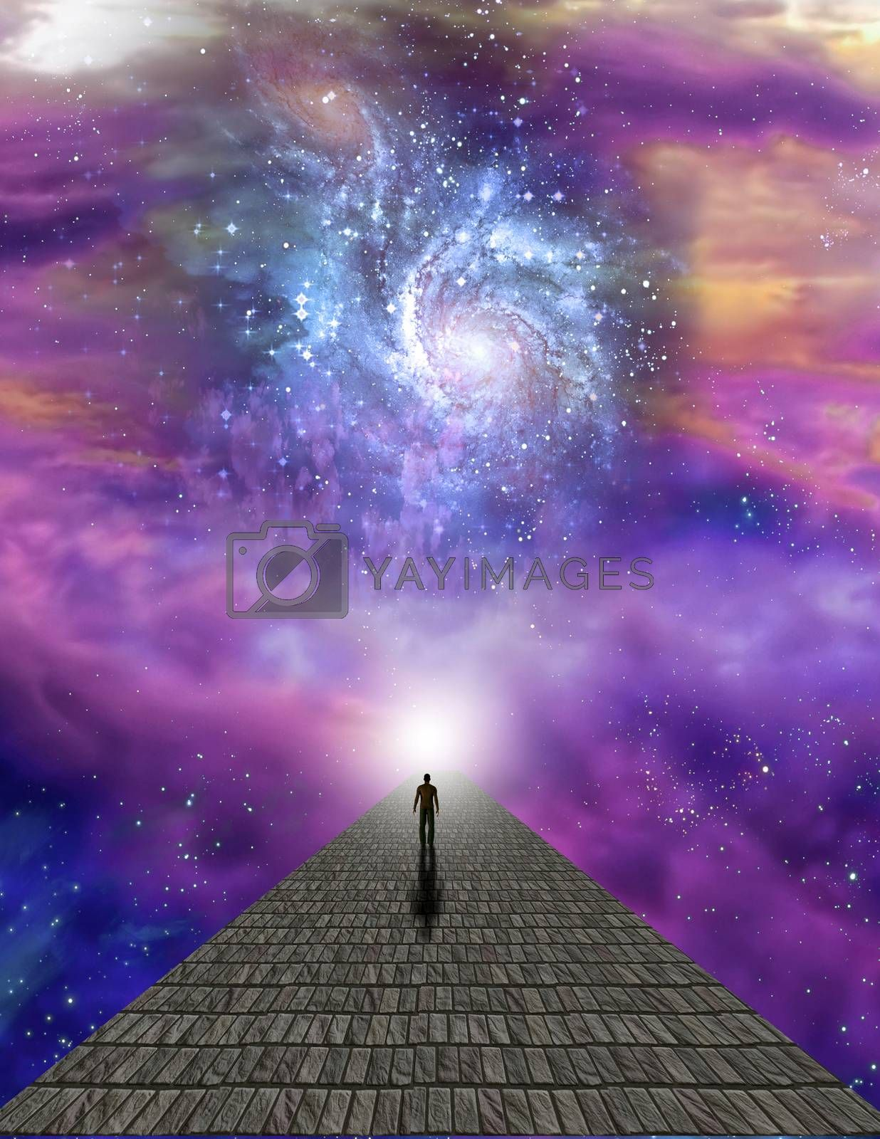 Lonely man on stone road in vivid space. Vivid galaxies, stars and planets. 3D rendering