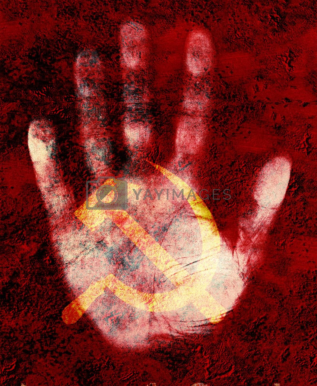 USSR symbol. Hammer and sickle on human palm. 3D rendering