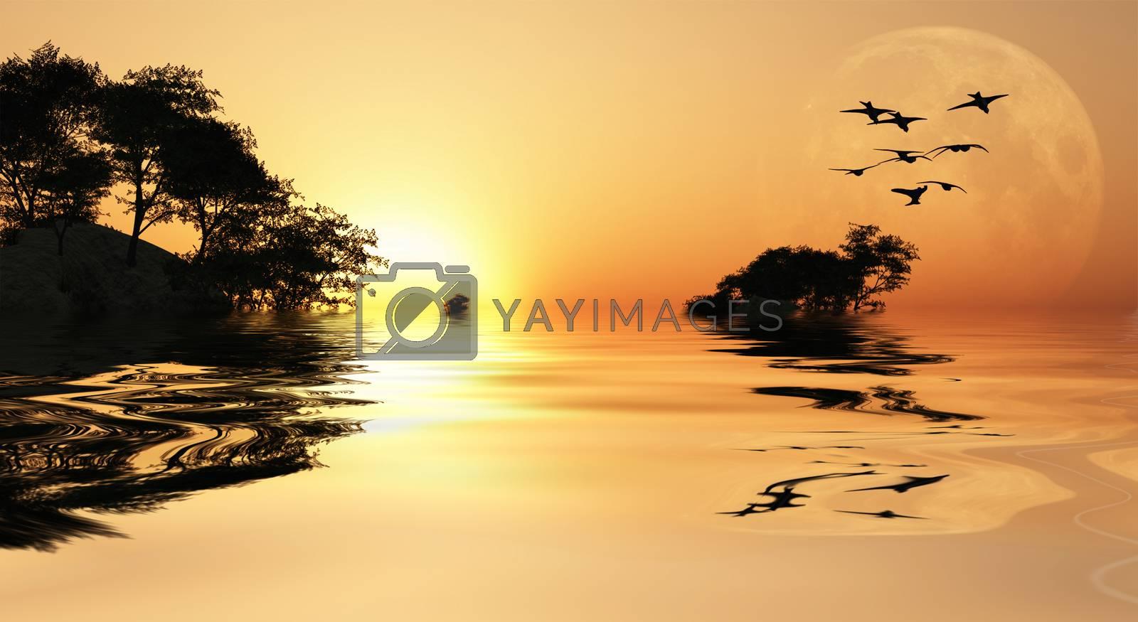 Sunrise over islands. 3D rendering