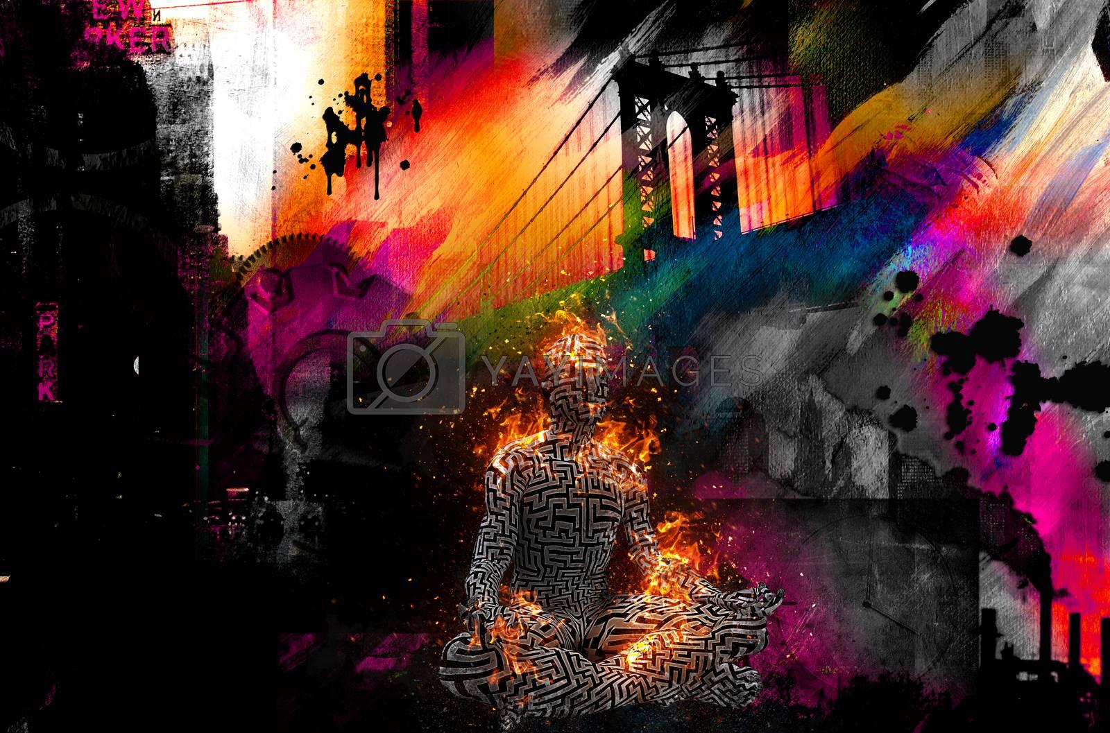 Colorful painting. Manhattan bridge. Burning figure of man in lotus pose. 3D rendering