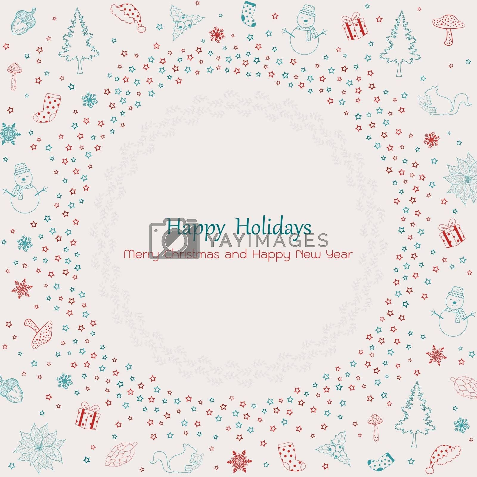 Merry Christmas and happy new year vintage greeting card design with stars and holiday elements,vector illustration