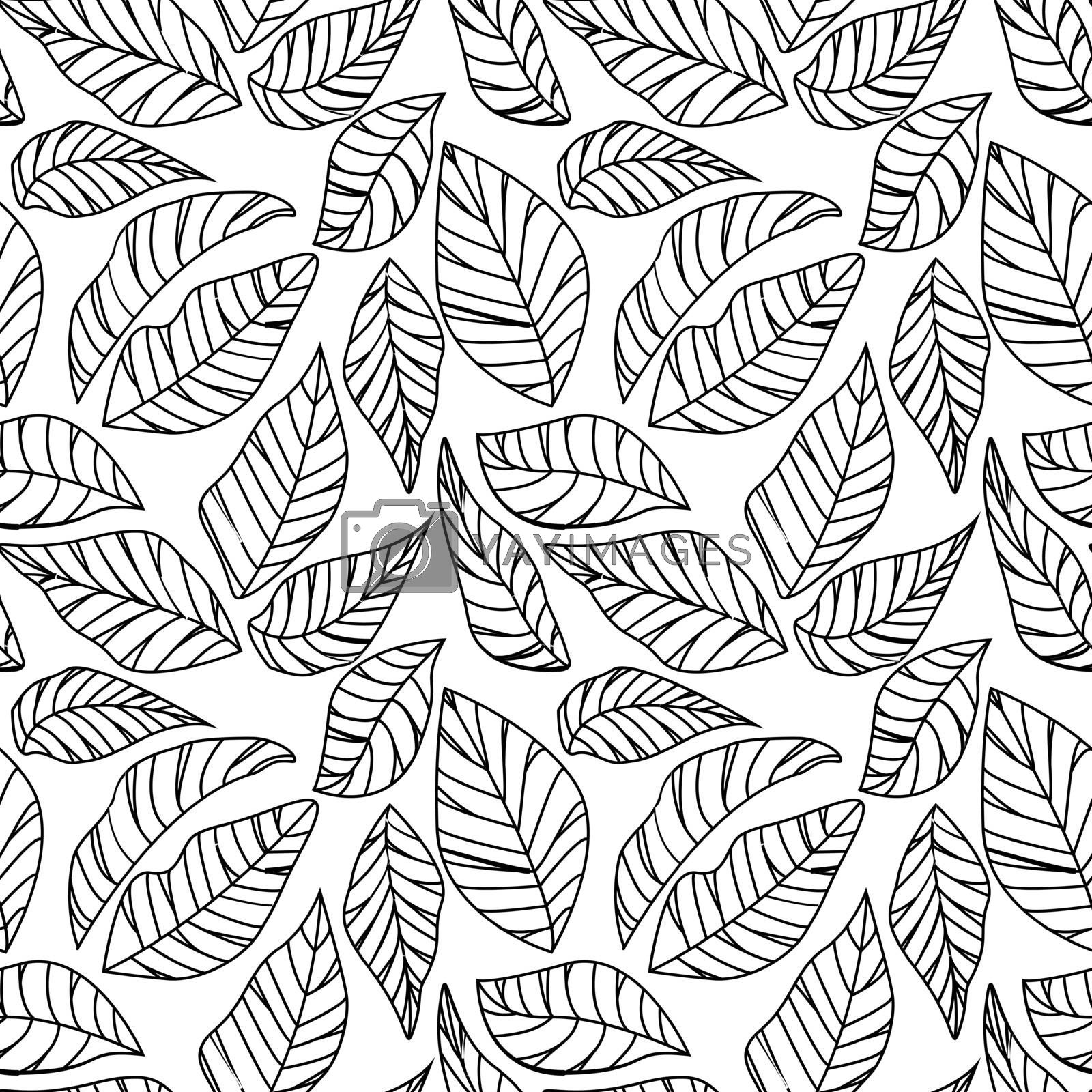 Vector illustration of leaves seamless pattern. Natural background with green leaves
