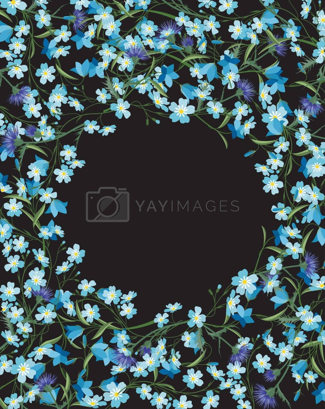 Vector illustration of colorful flowers. Summer floral decorations on a dark background.
