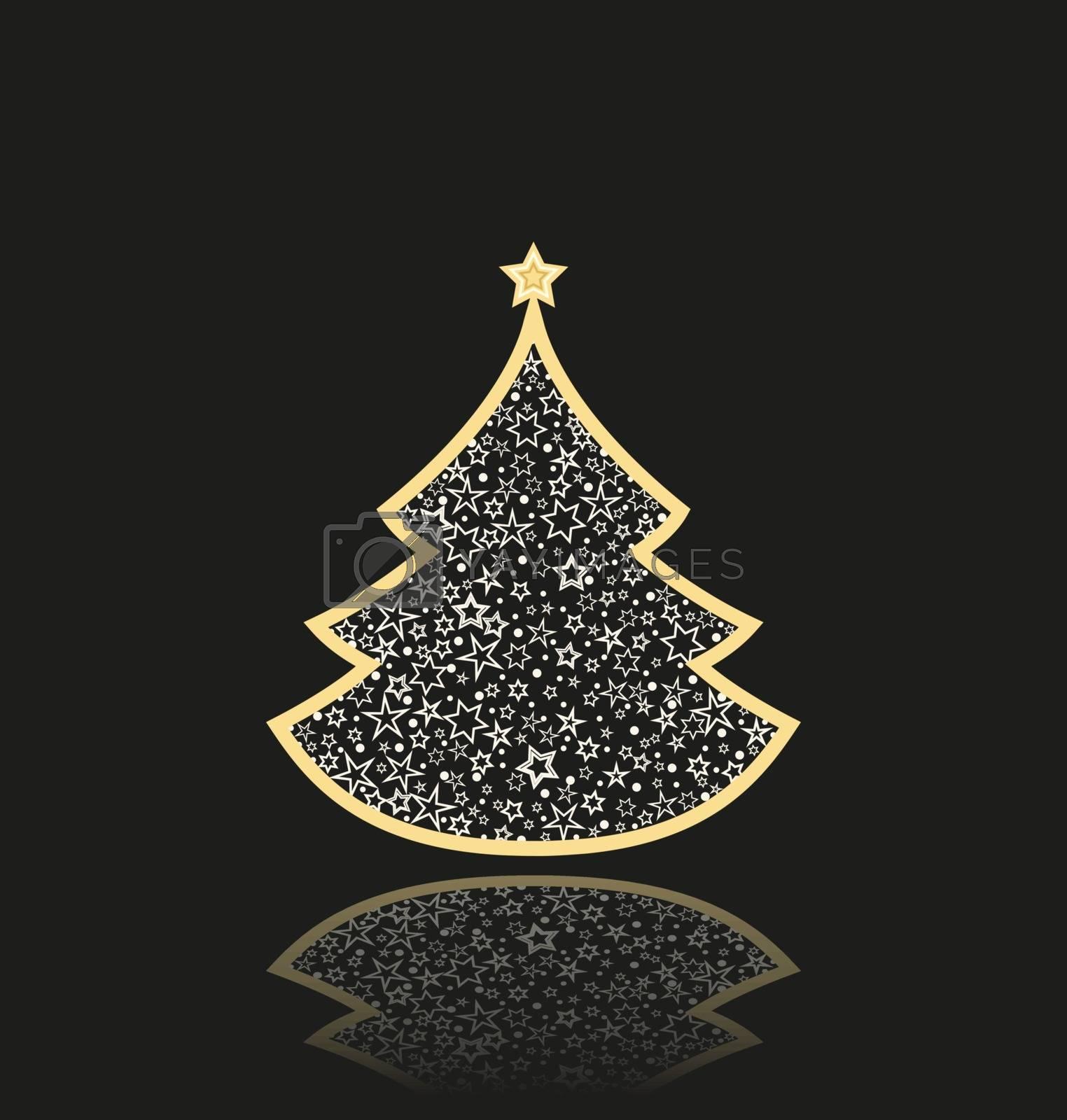 Vector illustration abstract golden christmas tree on black background. Golden light decoration. Christmas tree as symbol