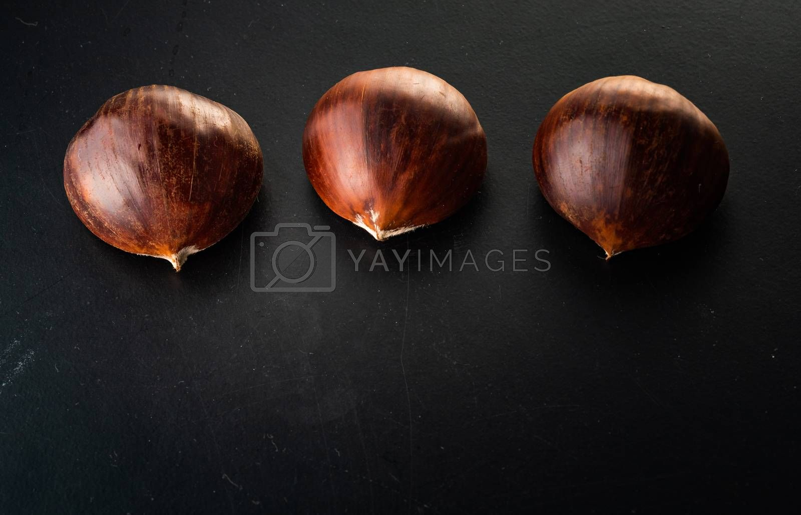 Three chestnuts isolated on black background. Copyspace top view closeup.