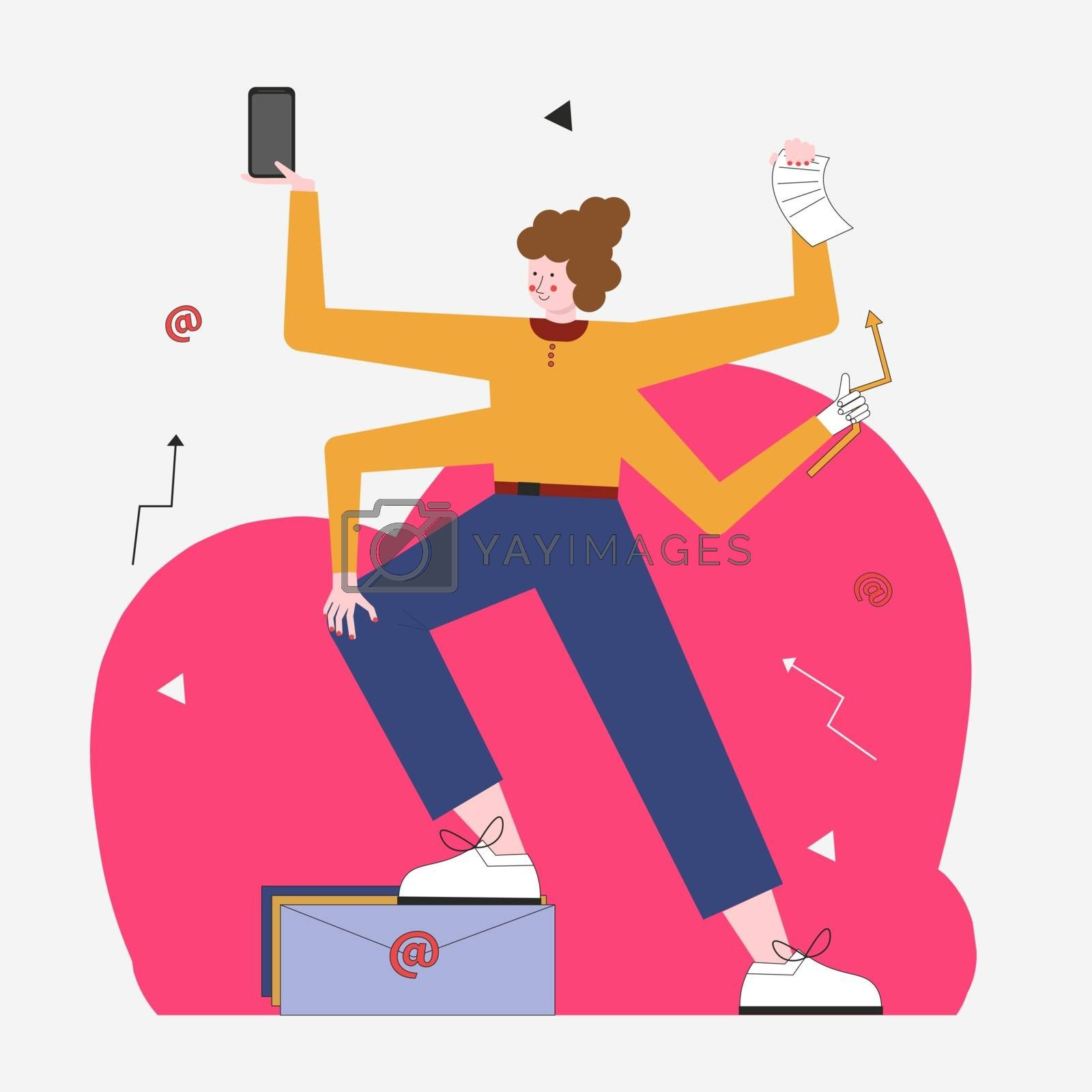 Vector of a multitasking business woman with many hands performing several tasks at the same time