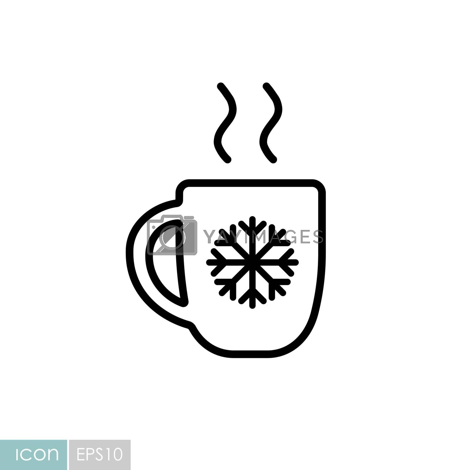 Christmas hot coffee in cup vector icon. Winter sign. Graph symbol for travel and tourism web site and apps design, logo, app, UI