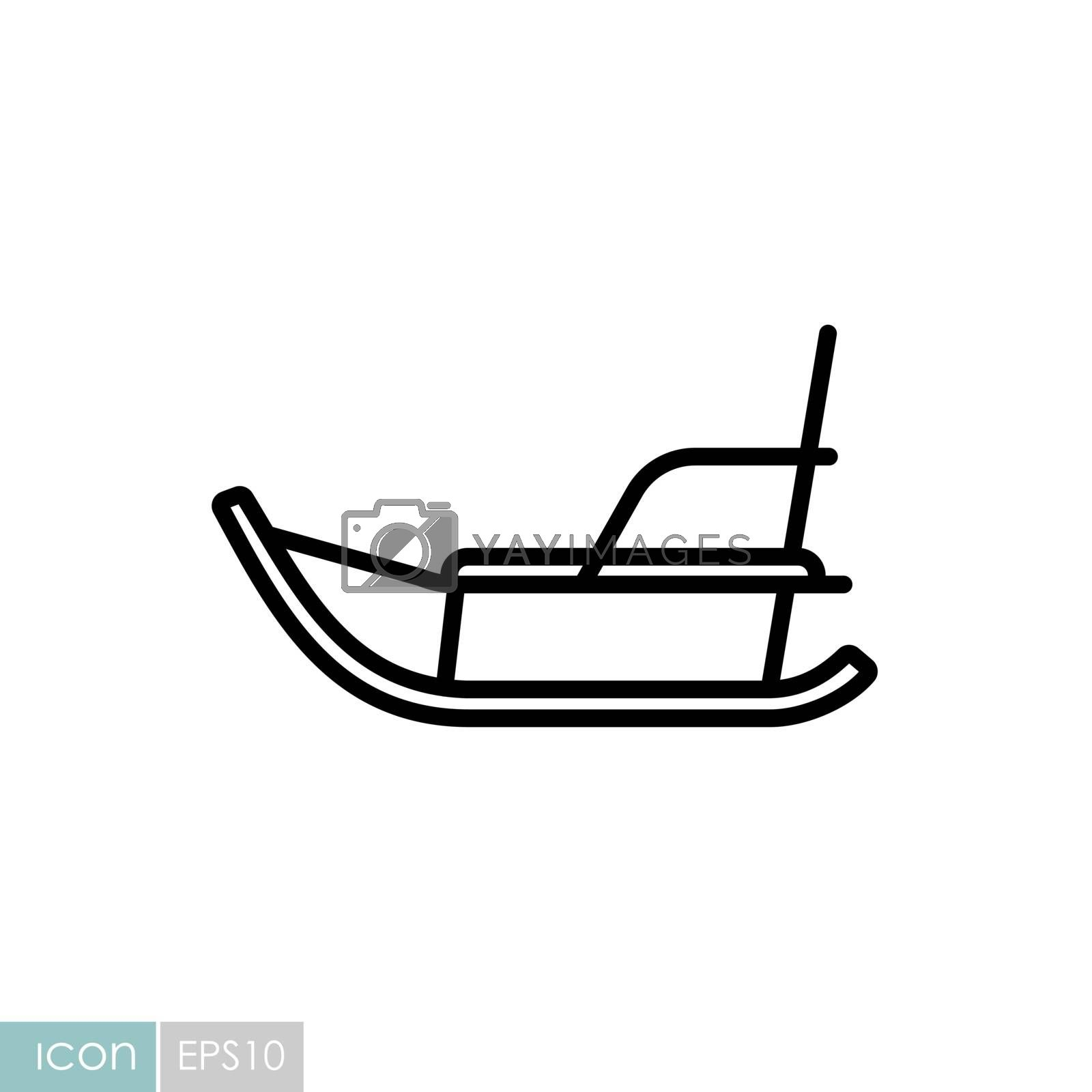 Winter sled vector icon. Winter sign. Graph symbol for travel and tourism web site and apps design, logo, app, UI