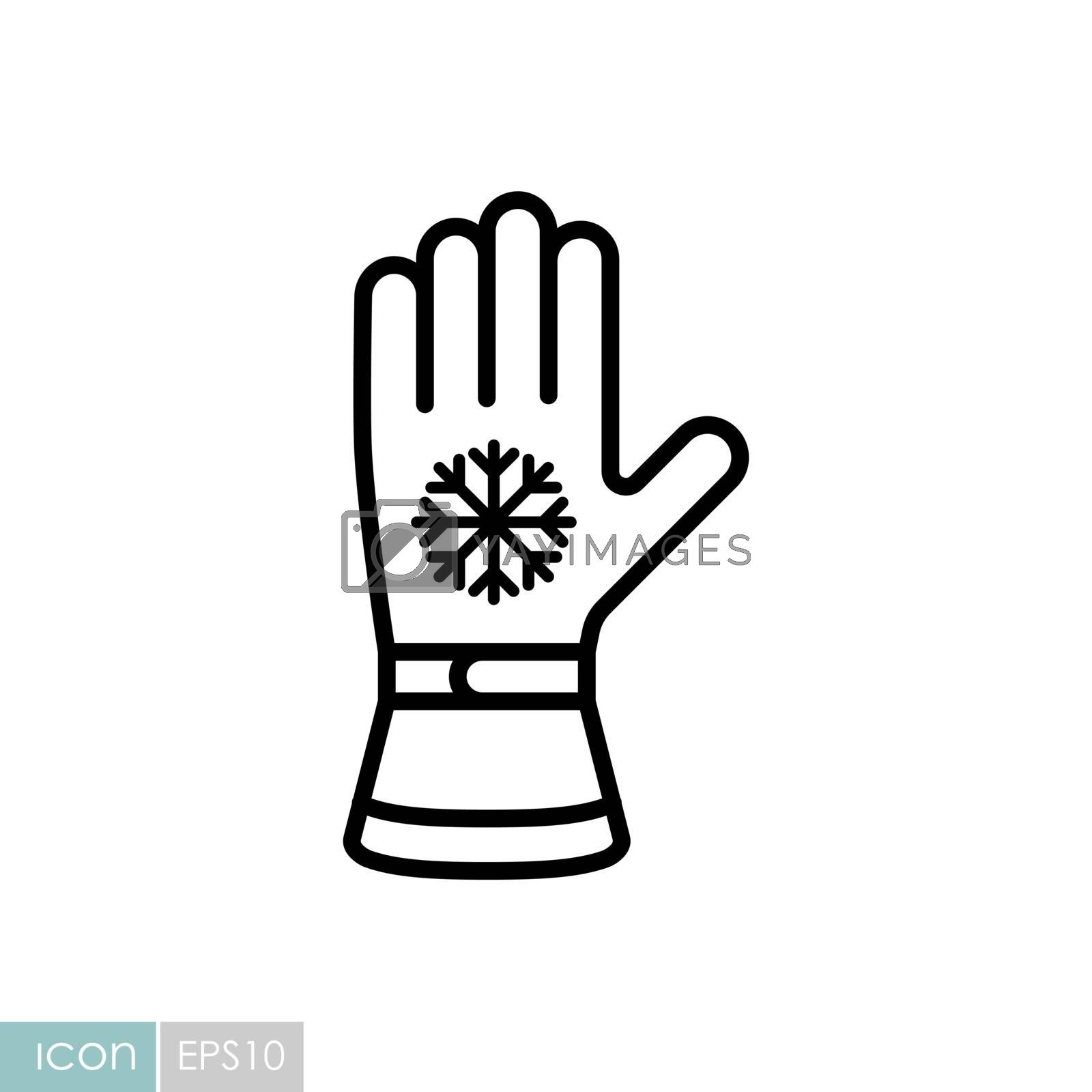 Winter ski gloves vector icon. Winter sign. Graph symbol for travel and tourism web site and apps design, logo, app, UI