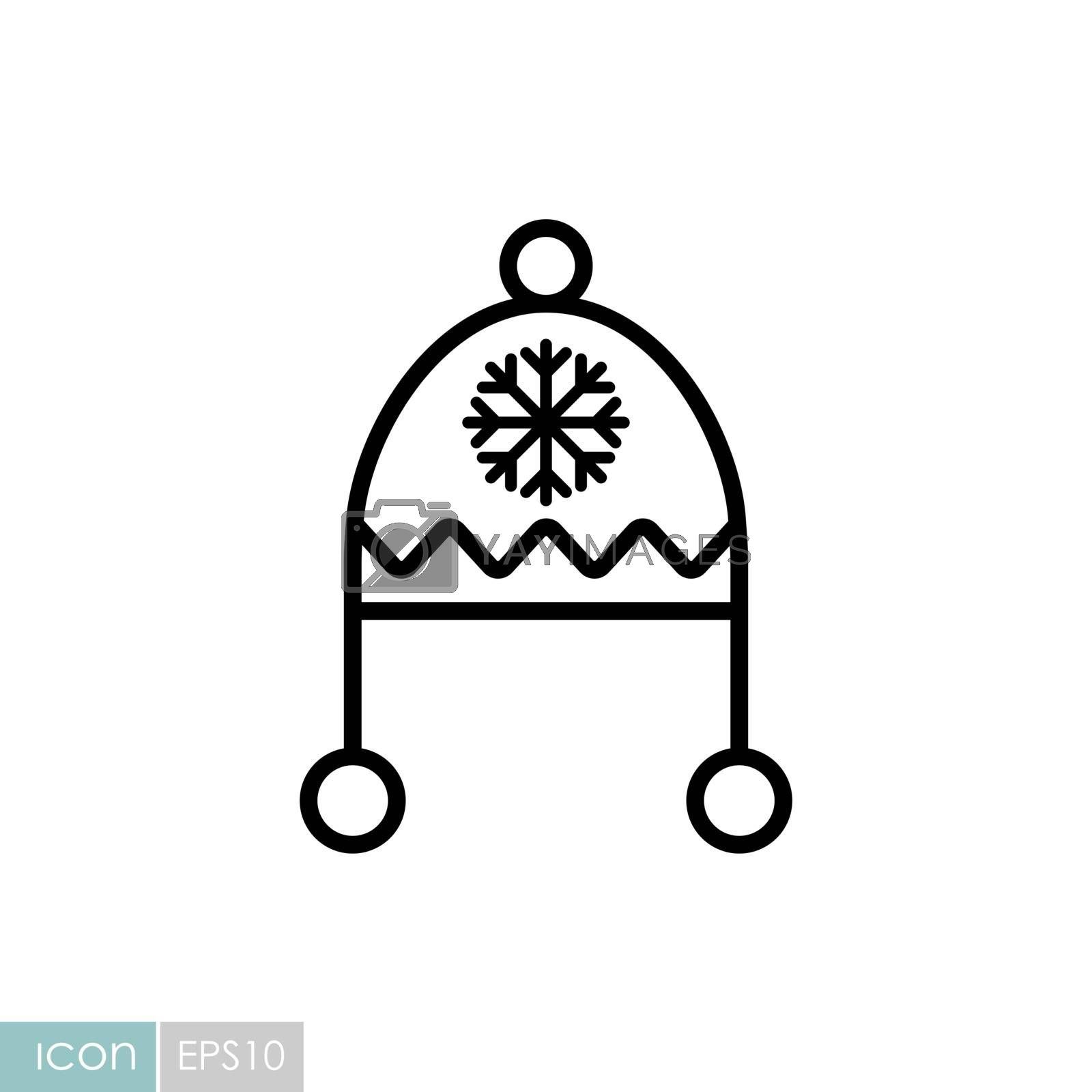 Winter hat cap with snowflake and pompom vector icon. Winter sign. Graph symbol for travel and tourism web site and apps design, logo, app, UI