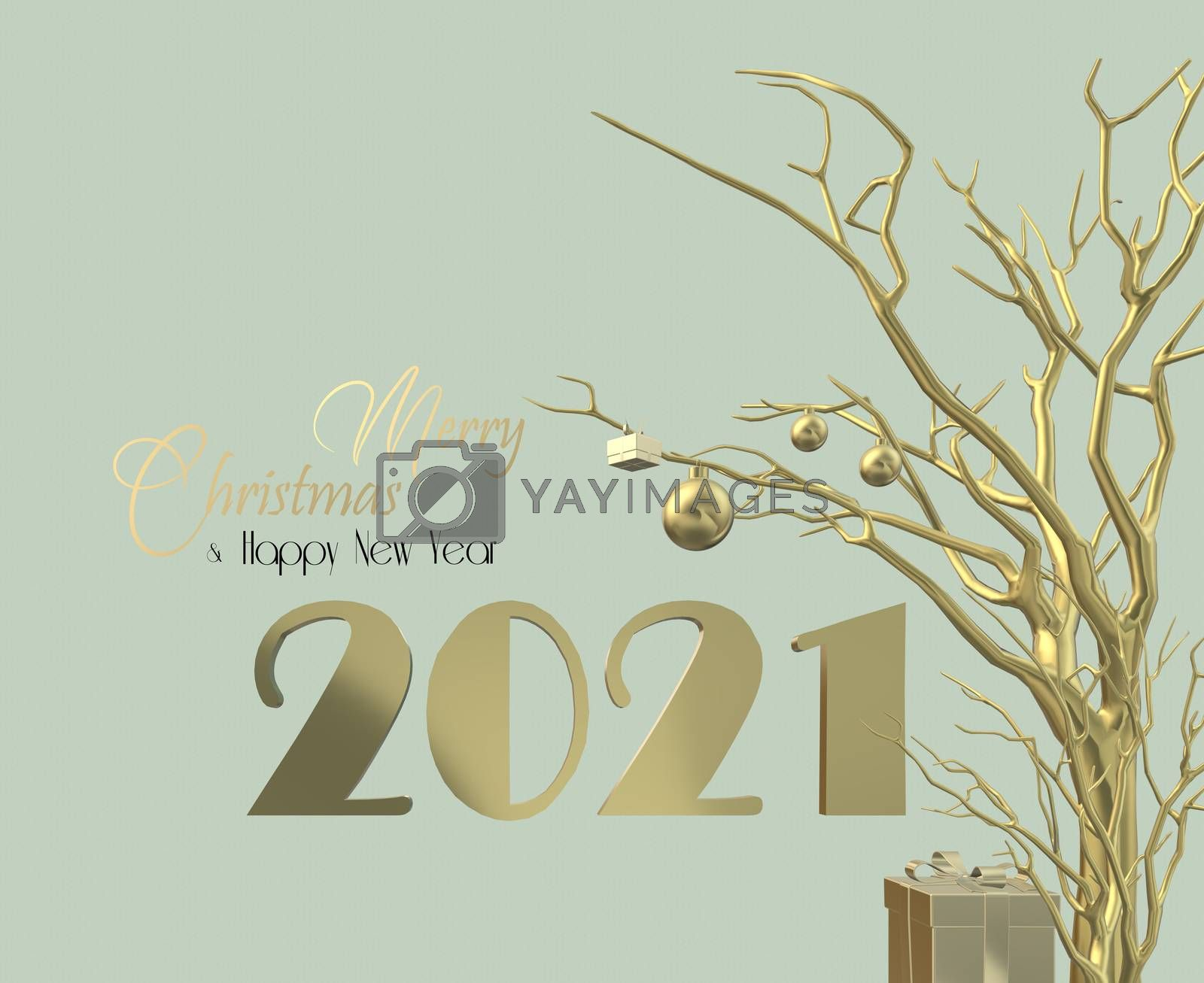 Happy New Year 2021 design. Gold arrangement of digit 2021, Christmas decoration hanging on gold tree over pistachio geen pastel background. Text Merry Christmas Happy New Year, 3D illustration