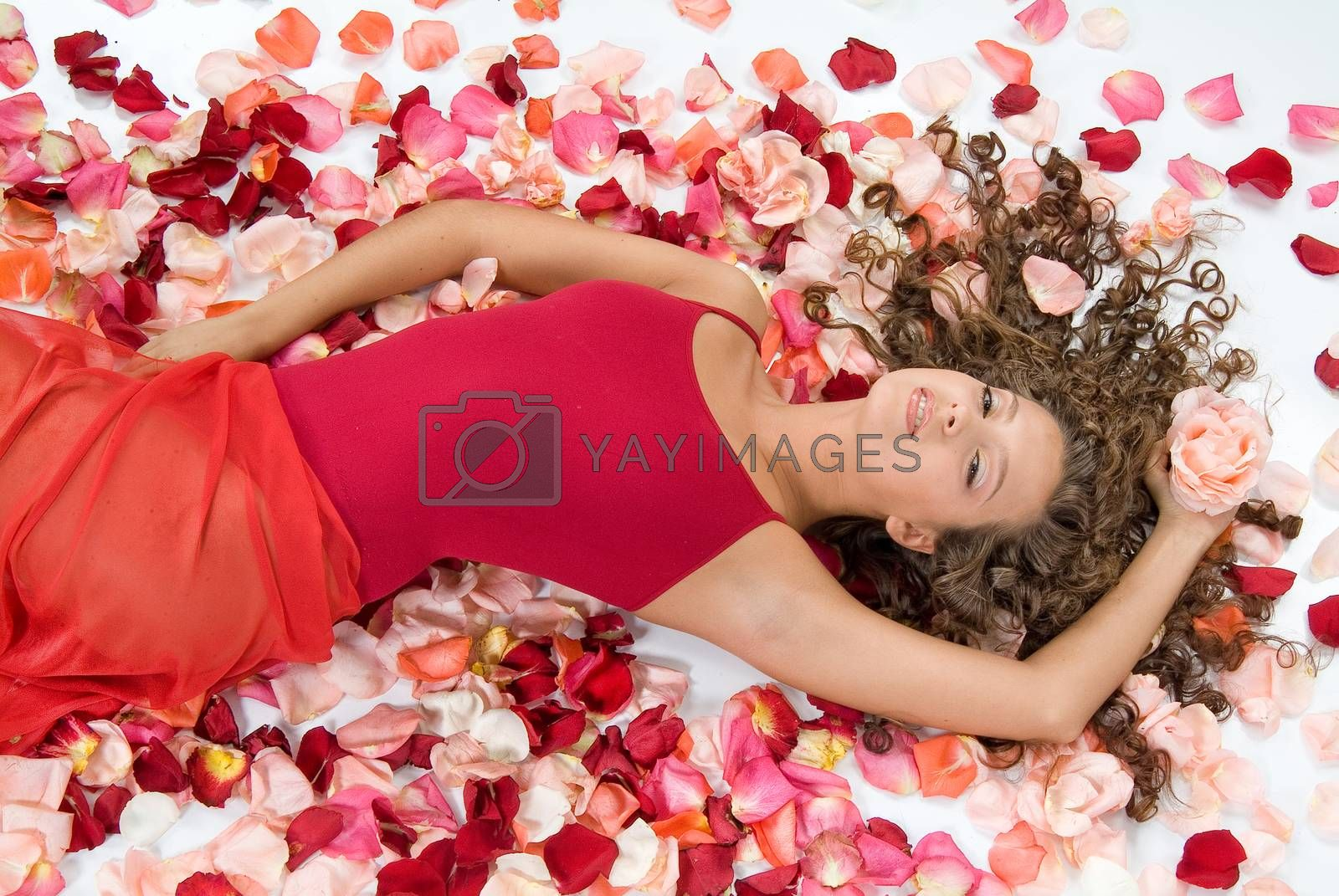Young woman and rose petals on a studio background