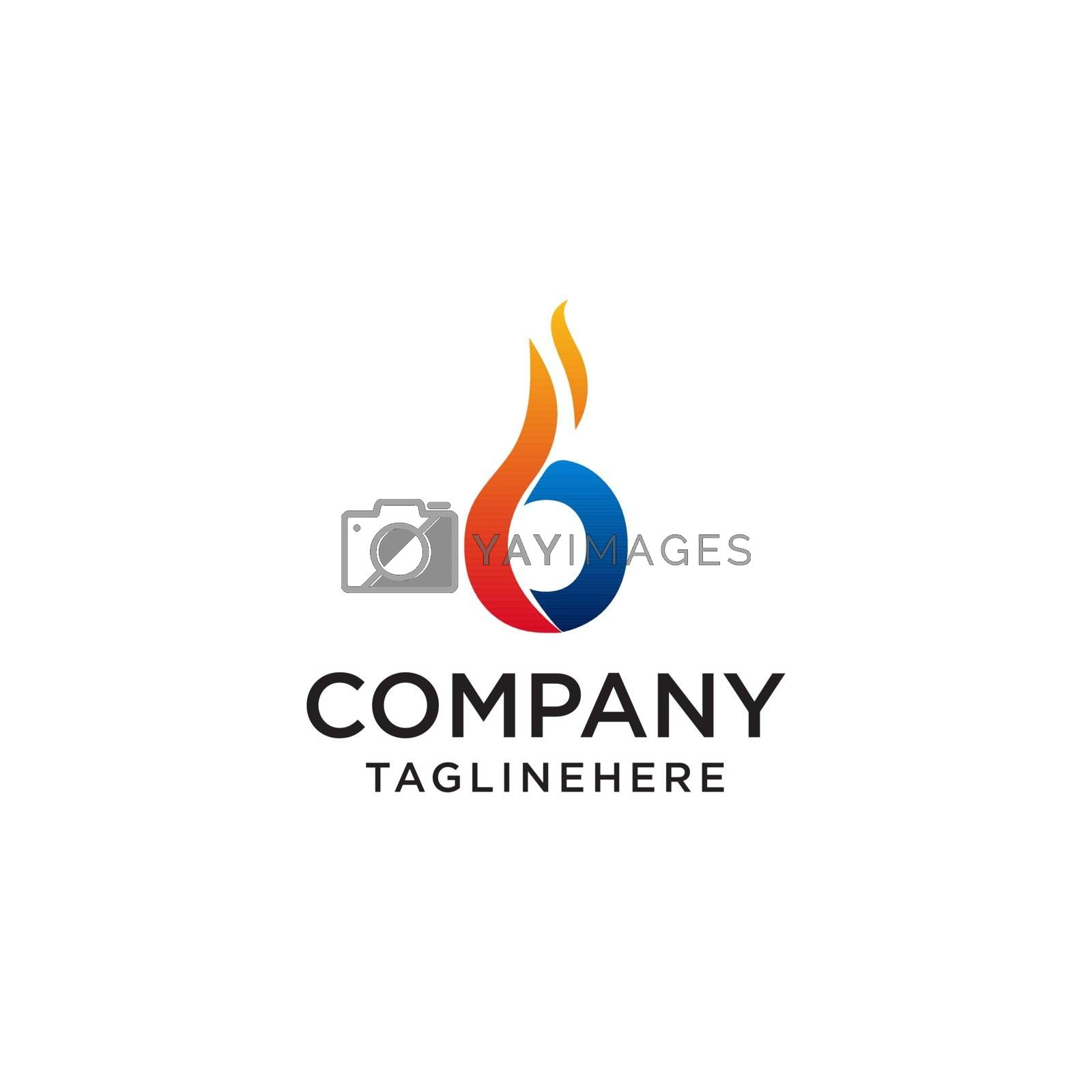 initial Letter Ofire logo design. fire company logos, oil companies, mining companies, fire logos, marketing, corporate business logos. icon. vector