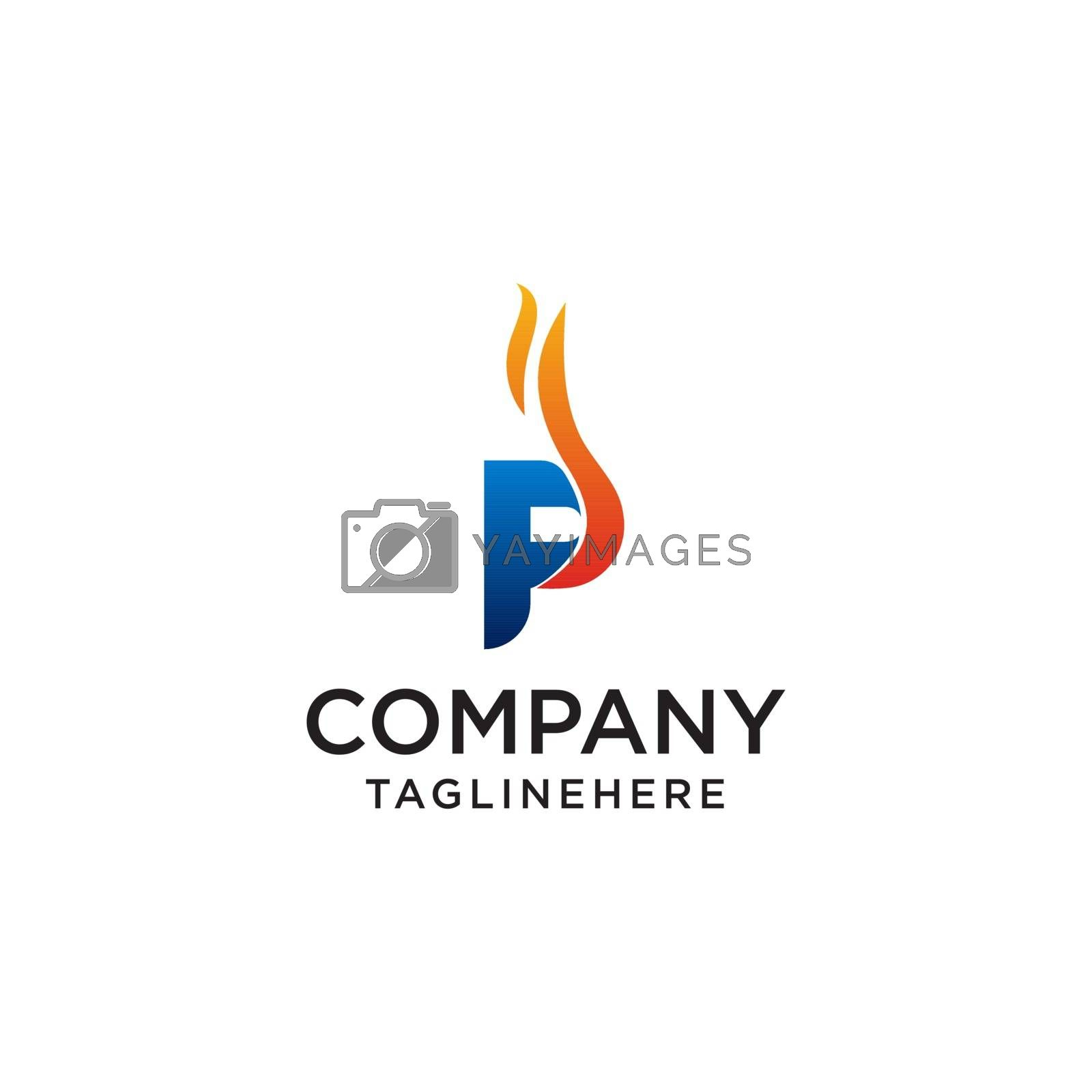 initial Letter P fire logo design. fire company logos, oil companies, mining companies, fire logos, marketing, corporate business logos. icon. vector
