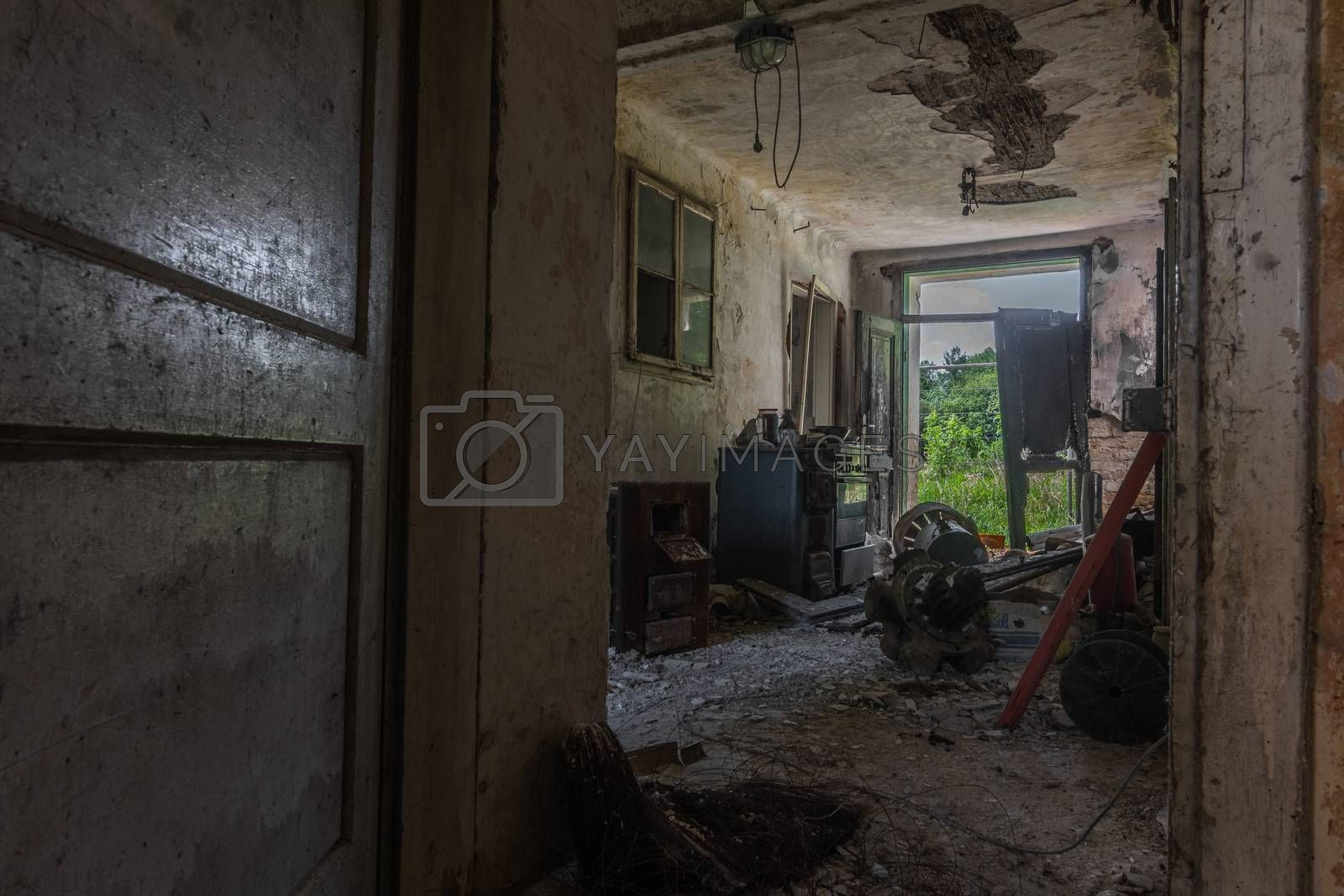 view into open room in an old house