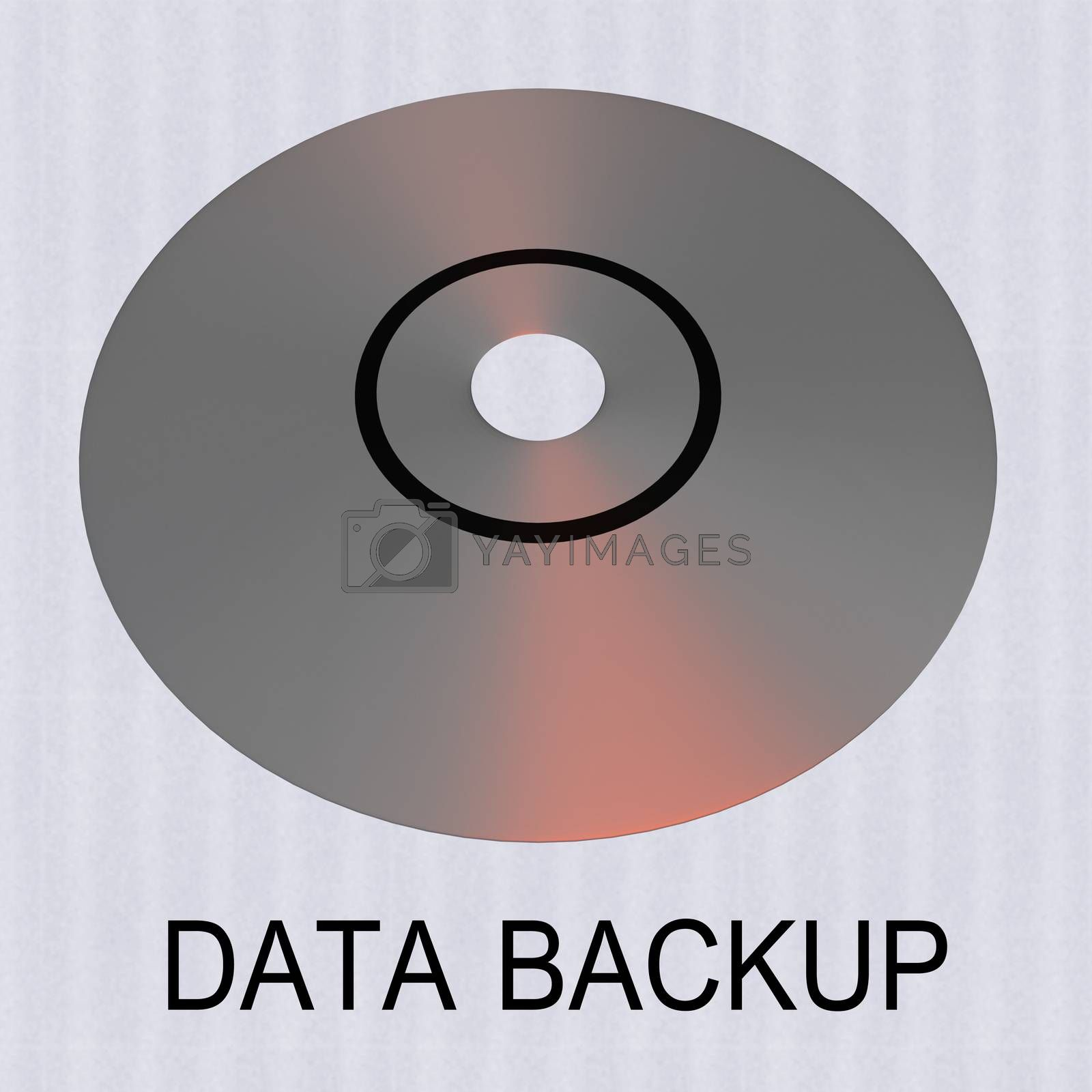 3D illustration of a compact disk with text DATA BACKUP, isolated over a pale blue pattern.