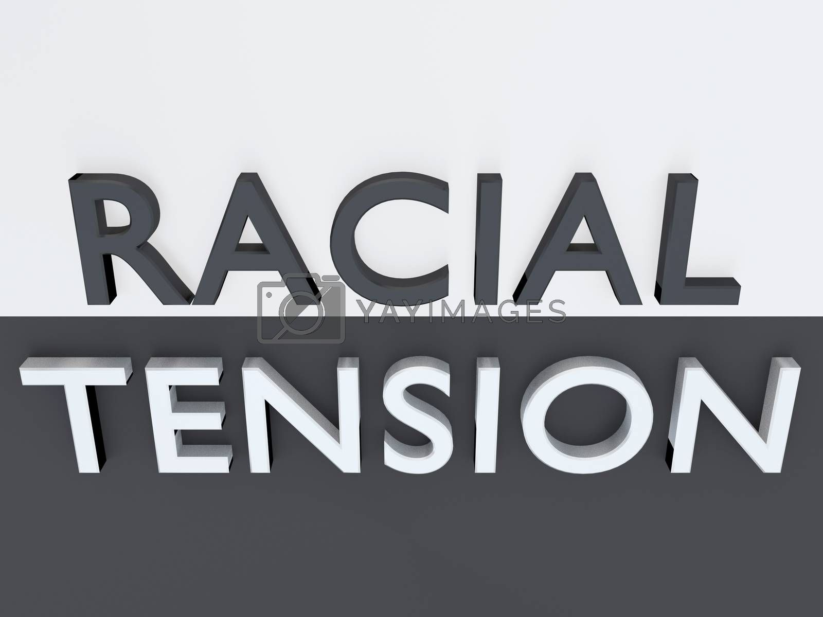 3D illustration of black and white letters forming the words RACIAL TENSION above a plate, split into two parts with the oposit colors.