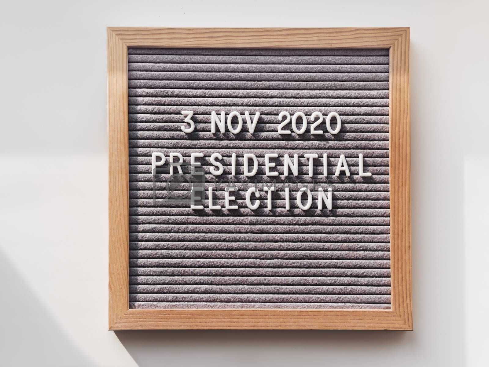 Announcement of USA Presidential Election at 3rd November 2020. Call to go to the vote. Top view on letter board on white background.