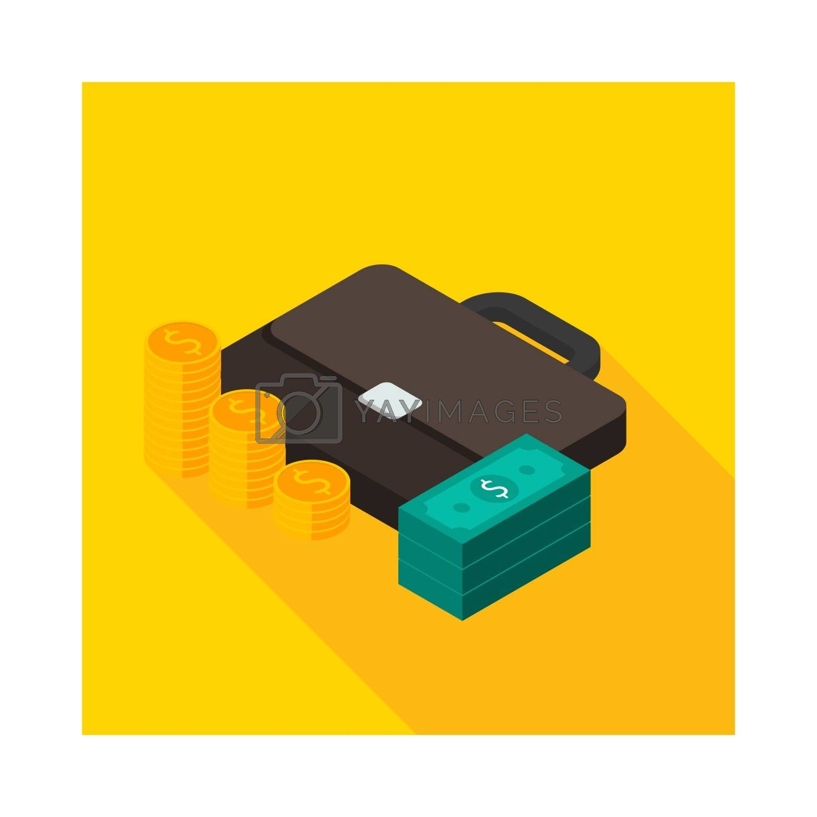 Briefcase, Dollar money cash icon, Gold coin stack left view icon vector isometric. Flat style vector illustration.