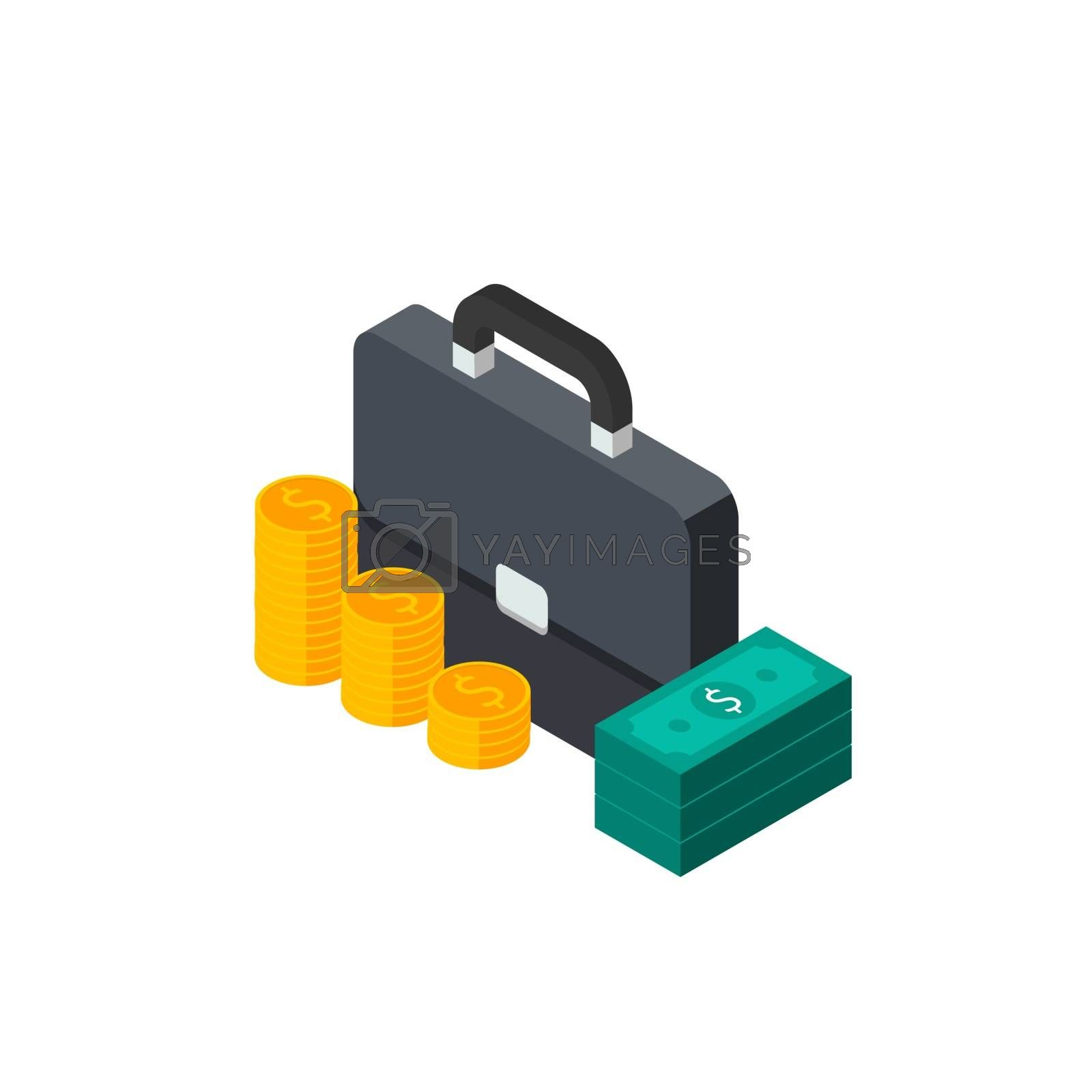 Briefcase, Dollar money cash icon, Gold coin stack left view White Background icon vector isometric. Flat style vector illustration.