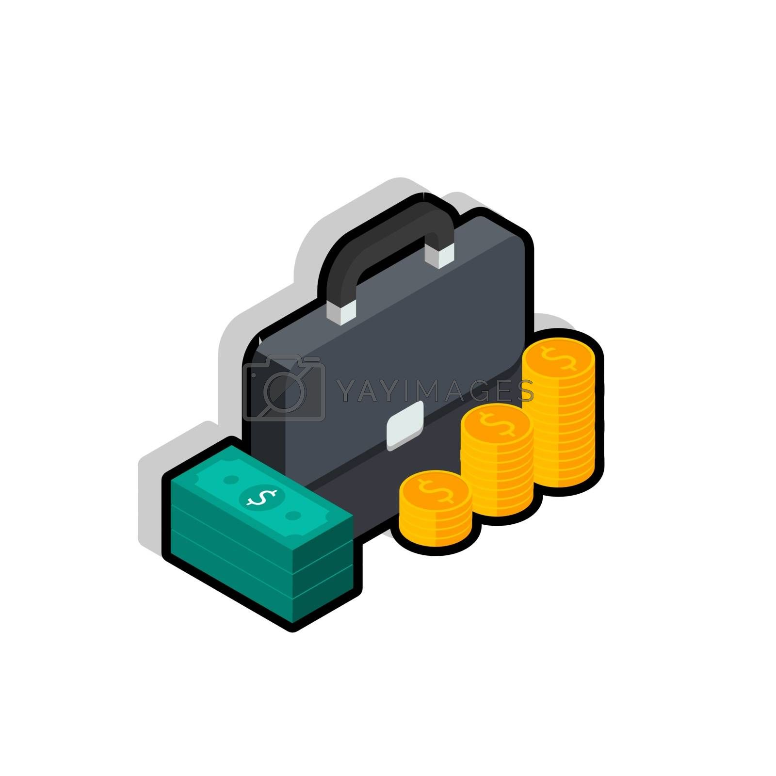 Briefcase, Dollar money cash icon, Gold coin stack right view Black Stroke and Shadow icon vector isometric. Flat style vector illustration.
