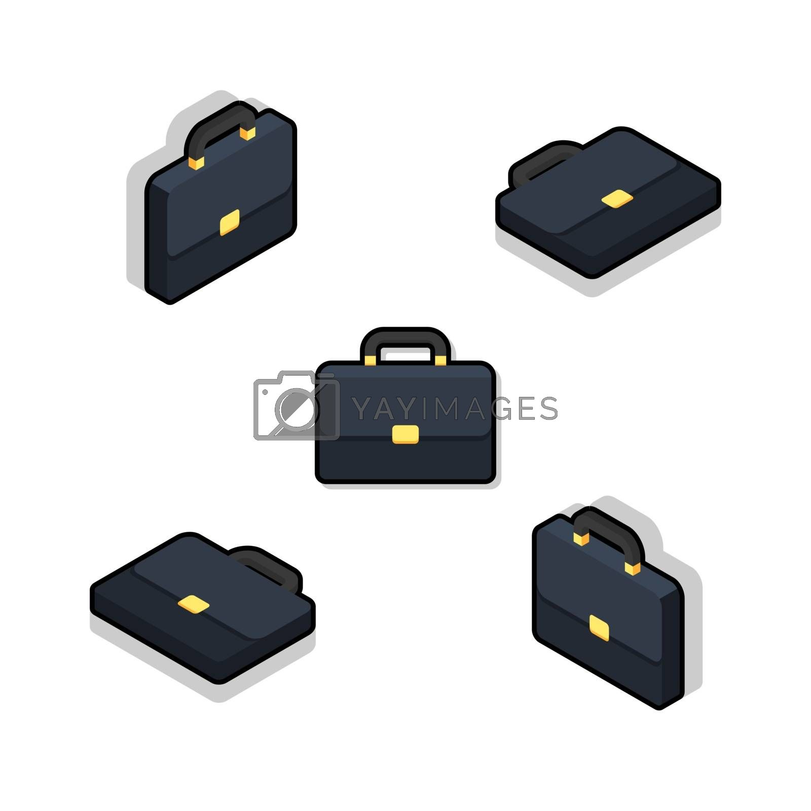 Briefcase Isometric & Flat Black Stroke and Shadow icon vector. Flat style vector illustration.