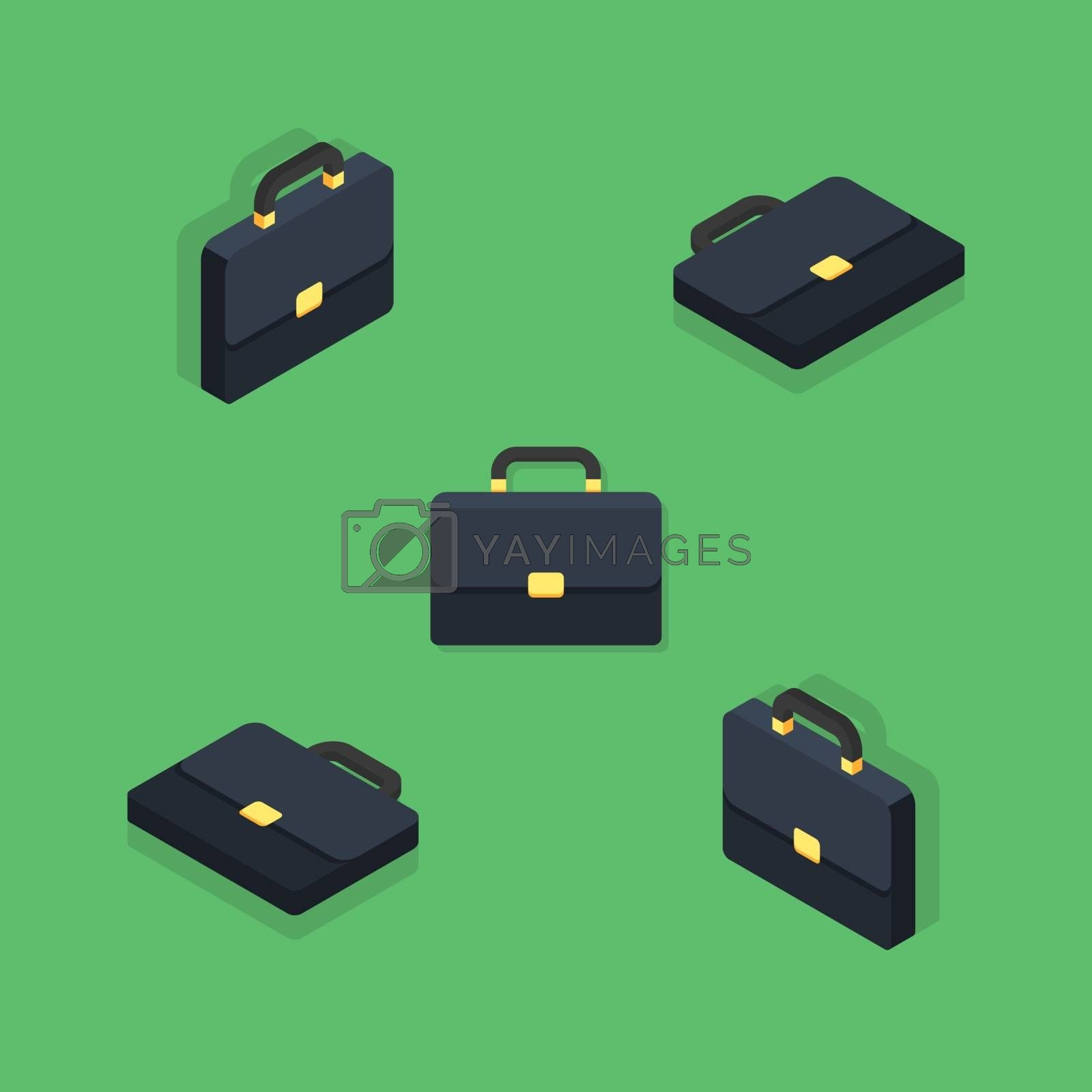 Briefcase Isometric & Flat icon vector. Flat style vector illustration.