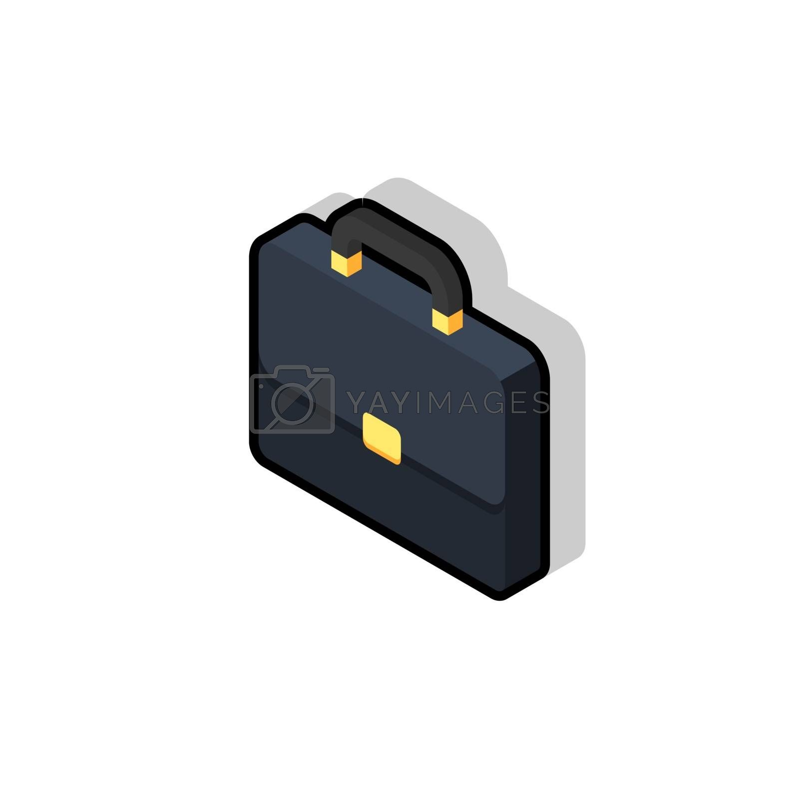 Briefcase left view Black Stroke and Shadow icon vector isometric. Flat style vector illustration.