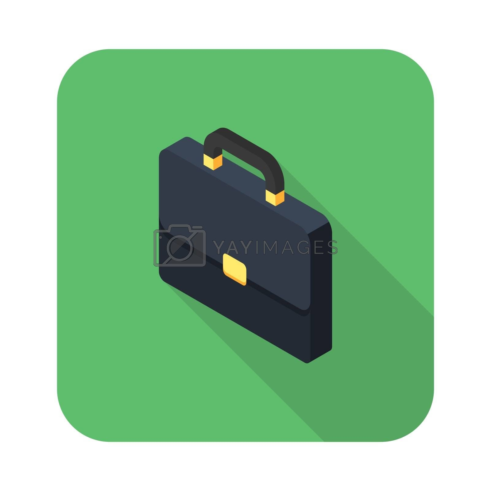Briefcase left view icon vector isometric. Flat style vector illustration.