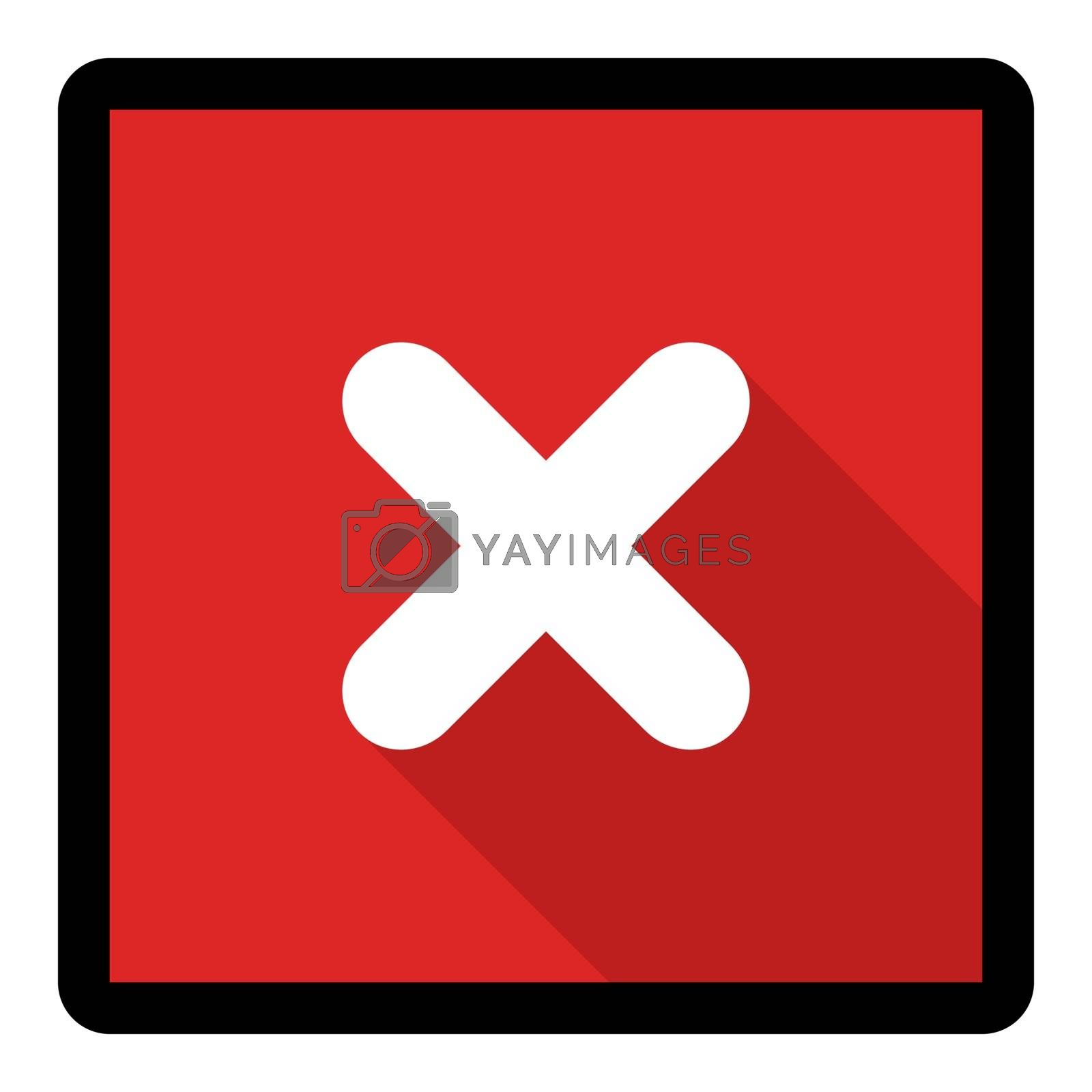 Wrong marks, Cross marks, Rejected, Disapproved, No, False, Not Ok, Wrong Choices, Task Completion, Voting. - vector mark symbols in red. Black stroke and shadow design. Isolated icon. Flat style vector illustration.