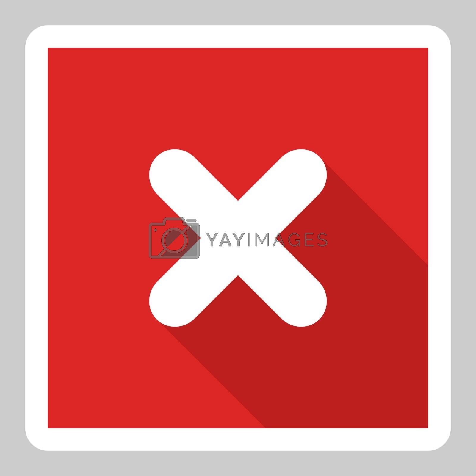 Wrong marks, Cross marks, Rejected, Disapproved, No, False, Not Ok, Wrong Choices, Task Completion, Voting. - vector mark symbols in red. White stroke and shadow design. Isolated icon. Flat style vector illustration.