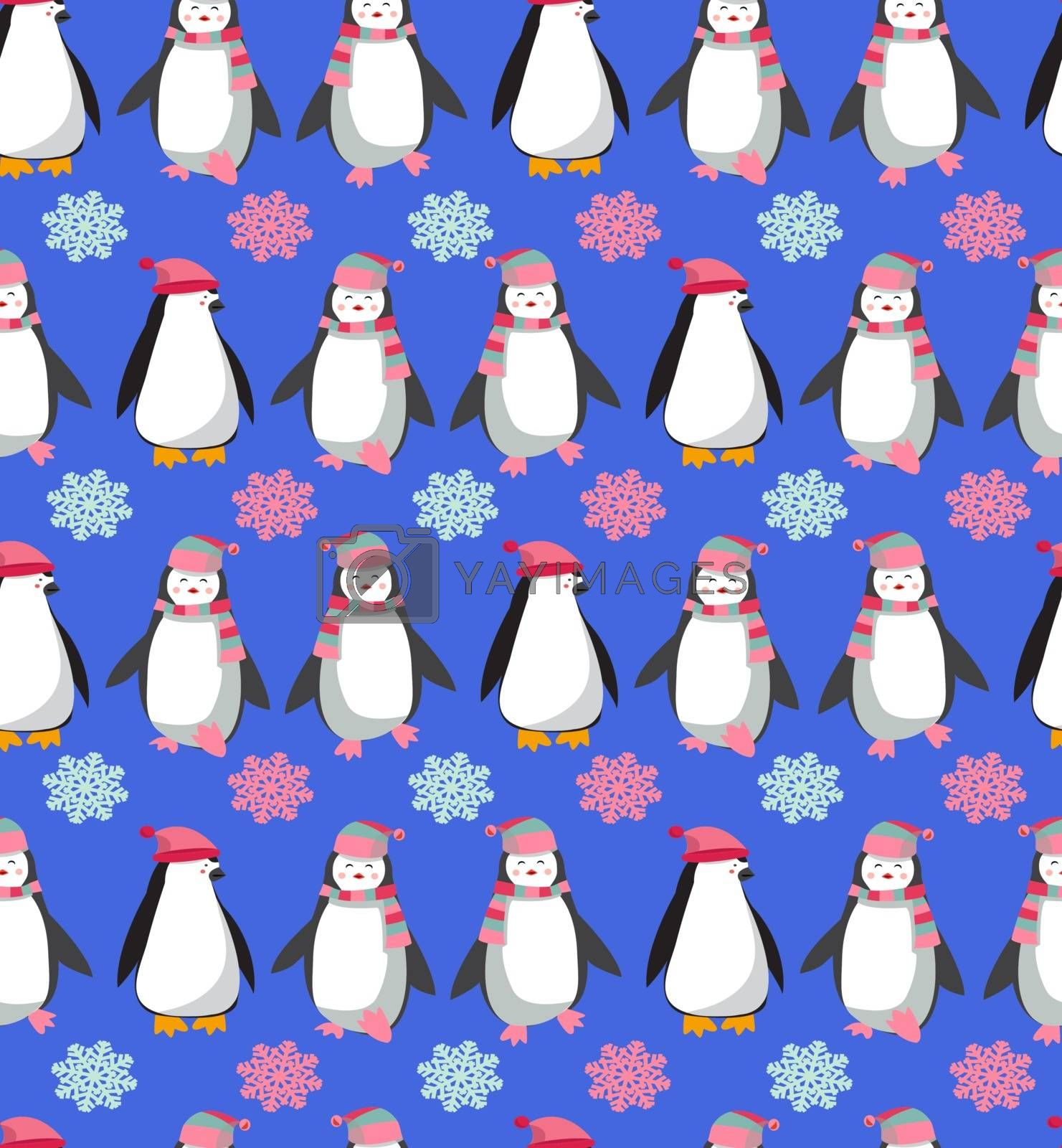 vector seamless pattern with cute penguins character. christmas background with Polar penguins and snowflakes illustration.