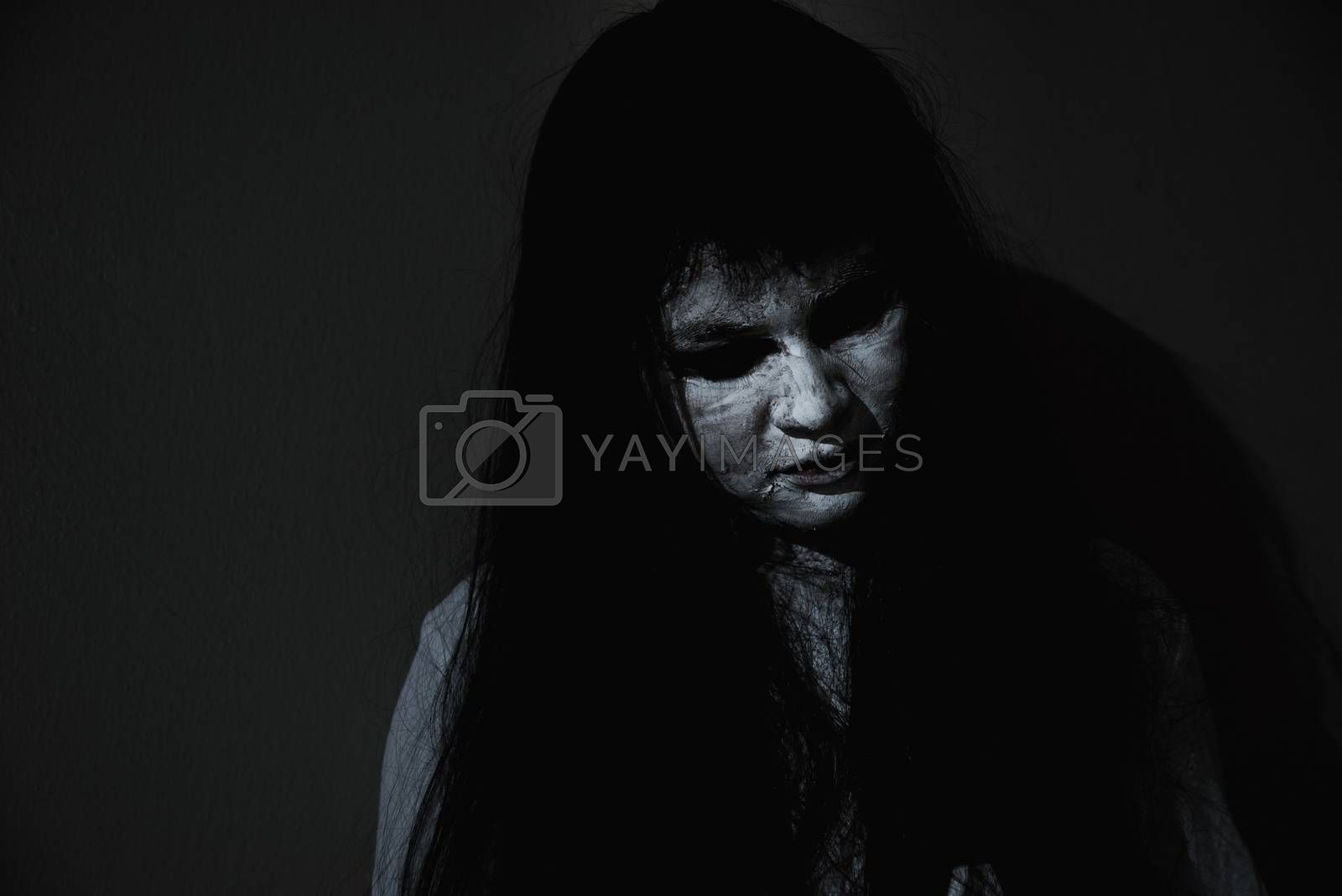 Woman ghost horror close up her face, halloween concept
