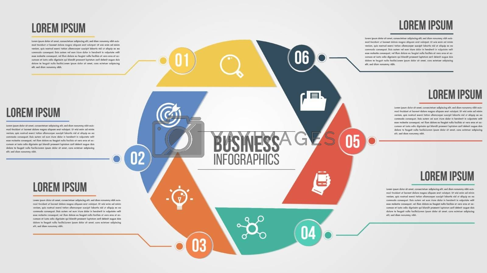 Vector circle arrows for infographic. Template for cycling diagram, graph, presentation and round chart. Business concept parts, steps or processes. Abstract background.Space for text edit.