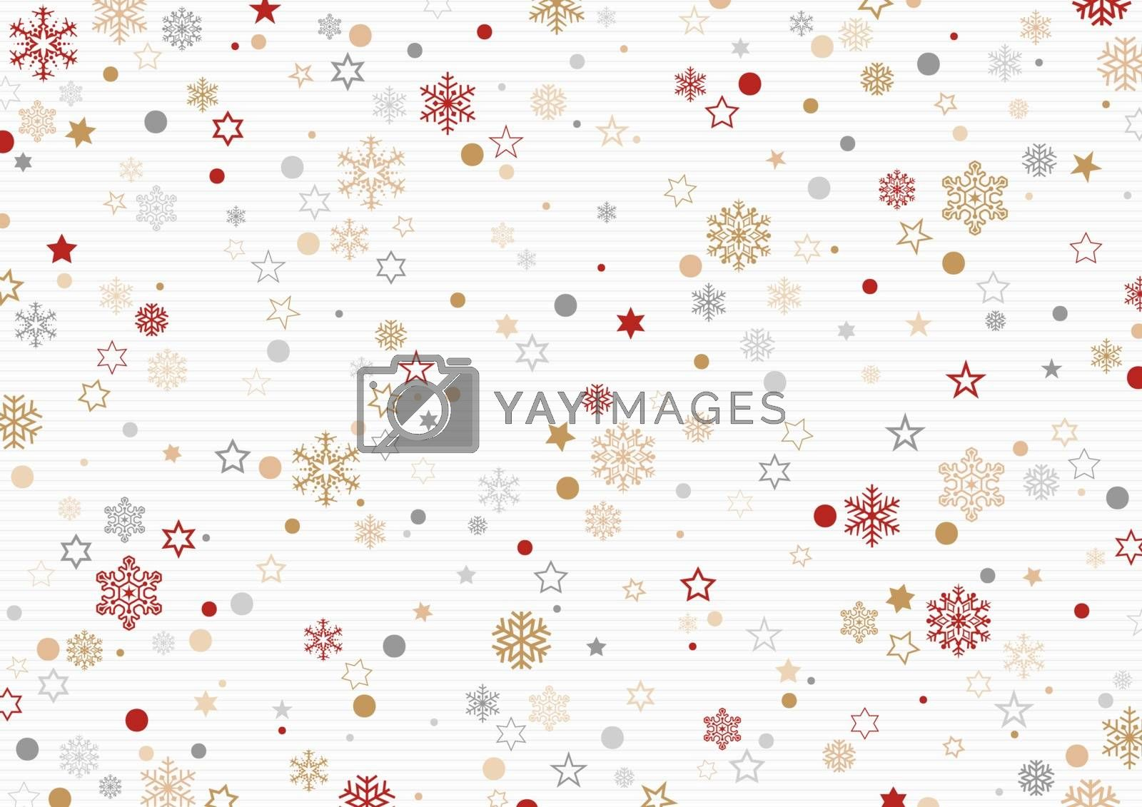 Christmas Pattern with Snowflakes and Stars on Striped Background - Festive Illustration for Your Xmas Graphic Design, Vector