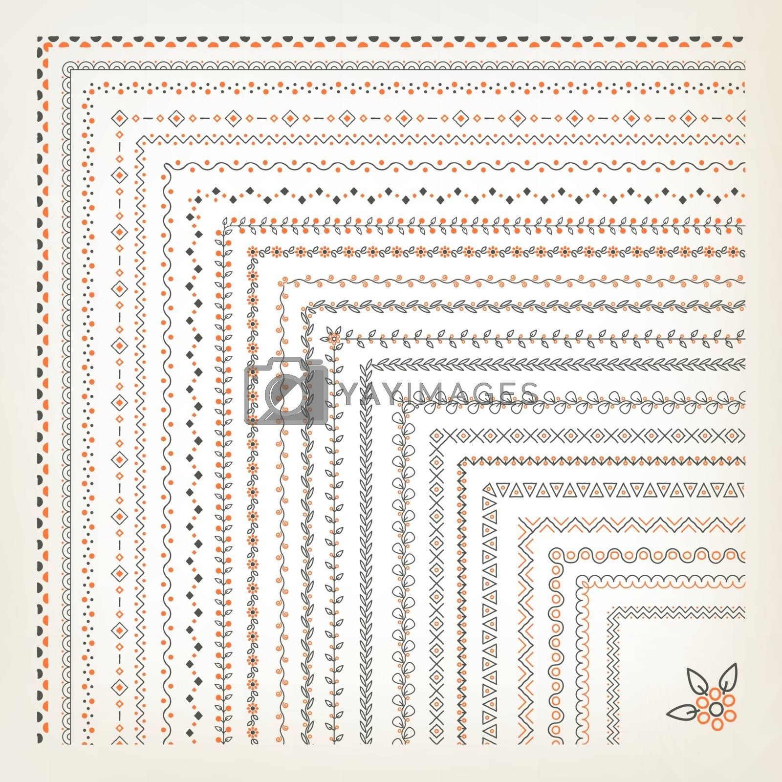 Big set of vector seamless decorative borders with corner elements