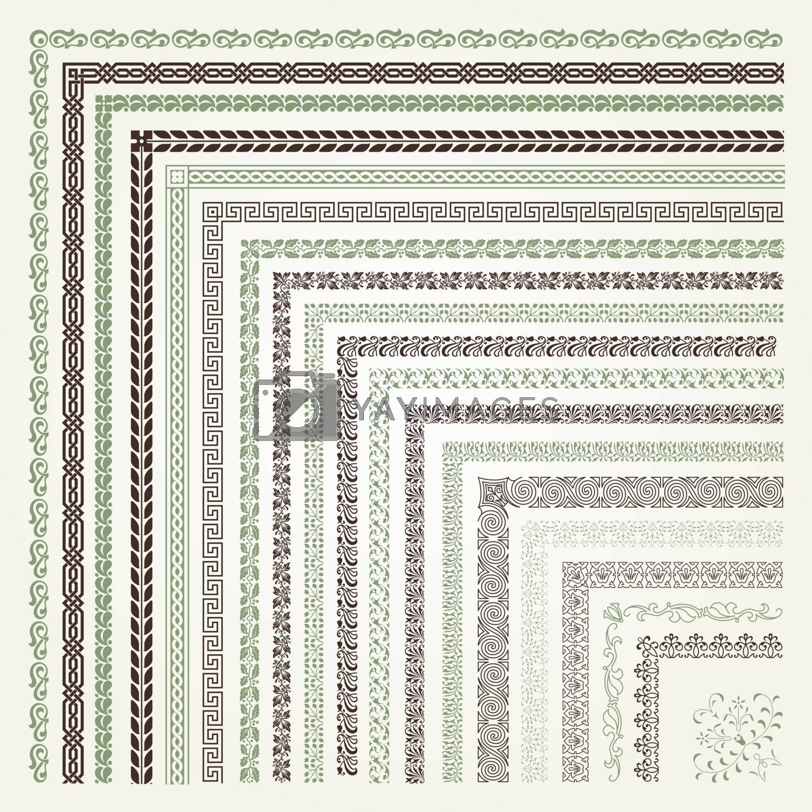Set of decorative seamless ornamental border with corner