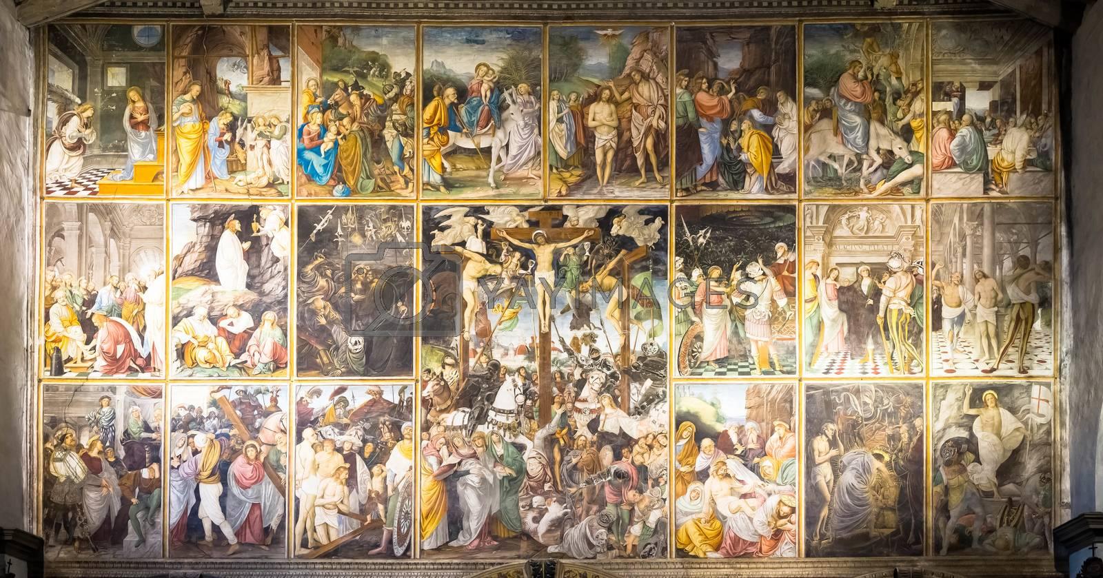 VARALLO, ITALY - June 2020: located in the Santa Maria delle Grazie Church in Varallo Sesia, this Renaissance masterpice was created by Gaudenzio Ferrari in 1513