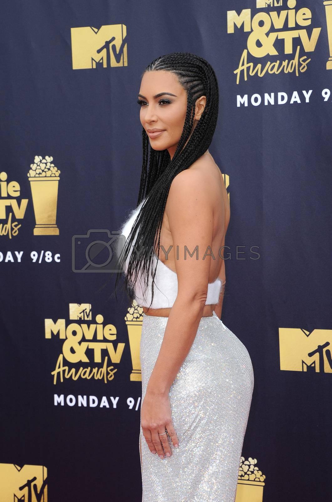 Kim Kardashian at the 2018 MTV Movie And TV Awards held at the Barker Hangar in Santa Monica, USA on June 16, 2018.