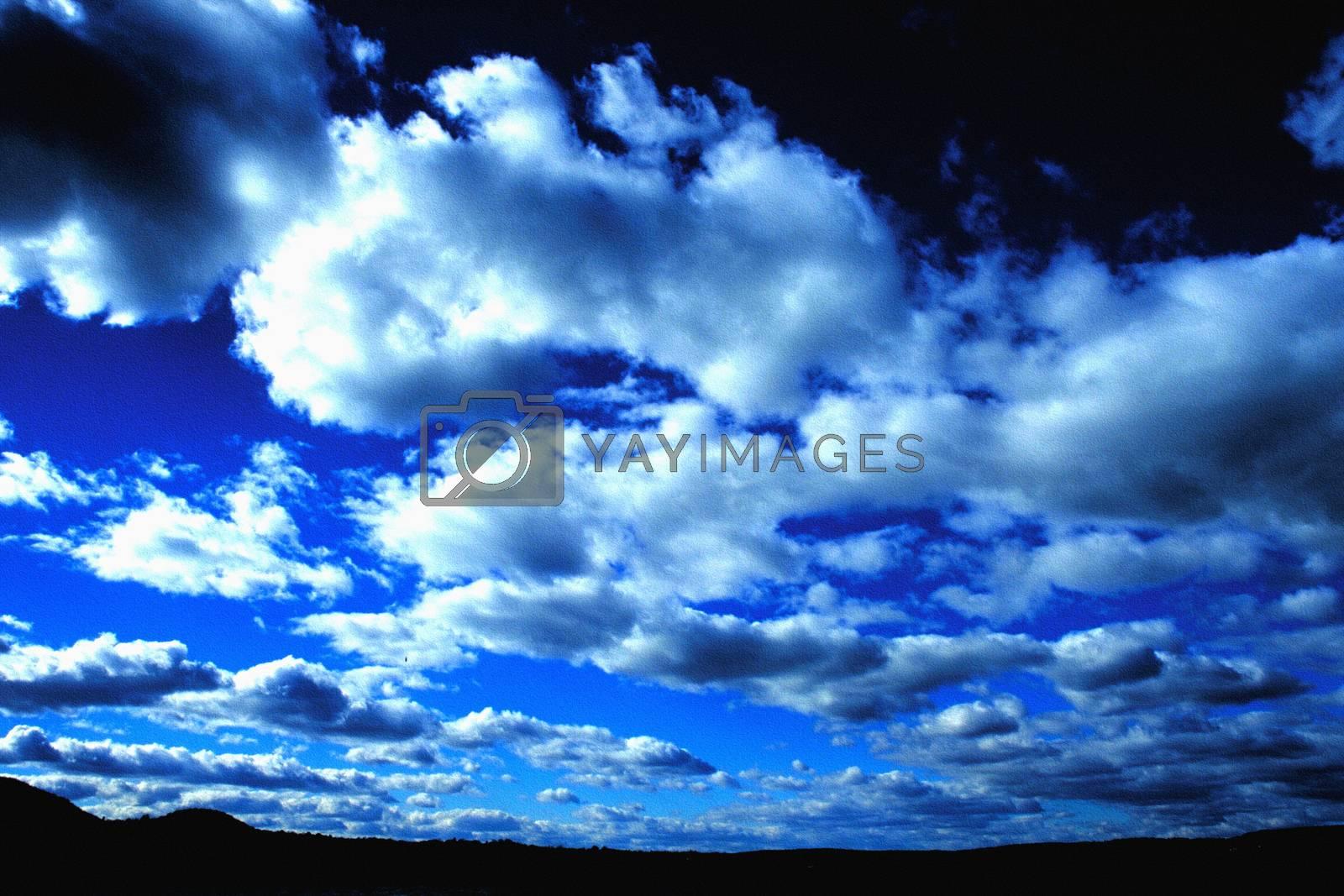 Vivid blue clouds. 3D rendering