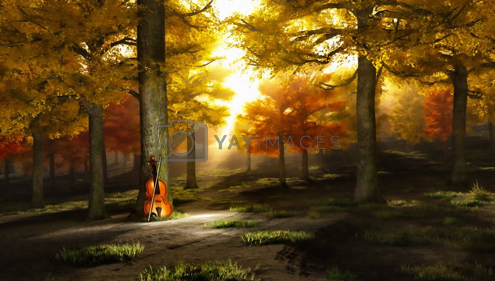 Sounds of autumn. Violin in beautiful park. 3D rendering