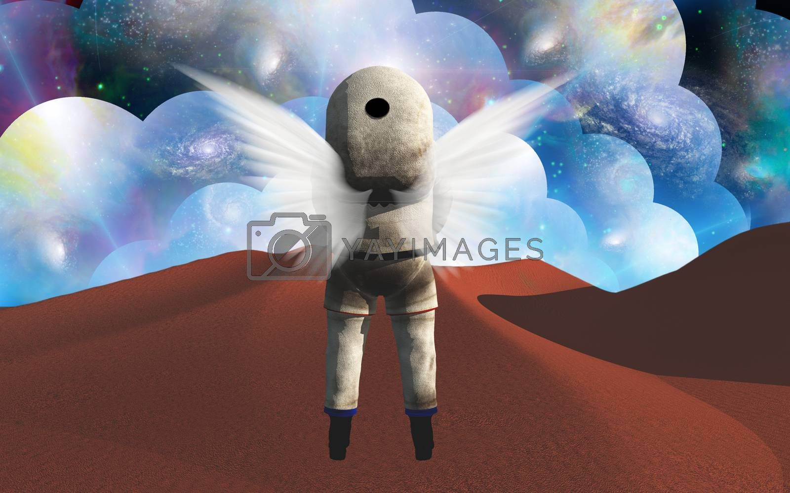 Winged astronaut on red planet. 3D rendering